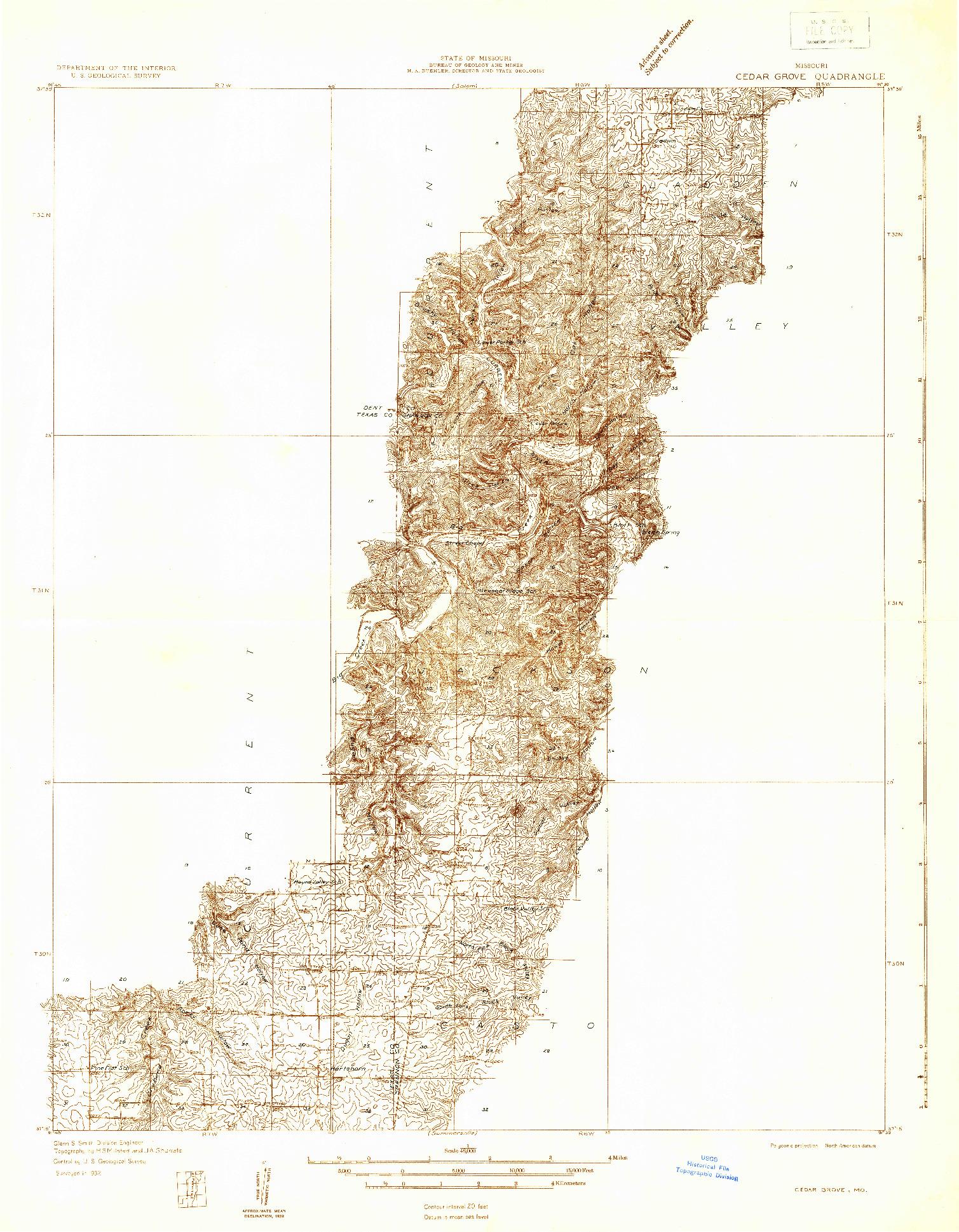 USGS 1:48000-SCALE QUADRANGLE FOR CEDAR GROVE, MO 1932