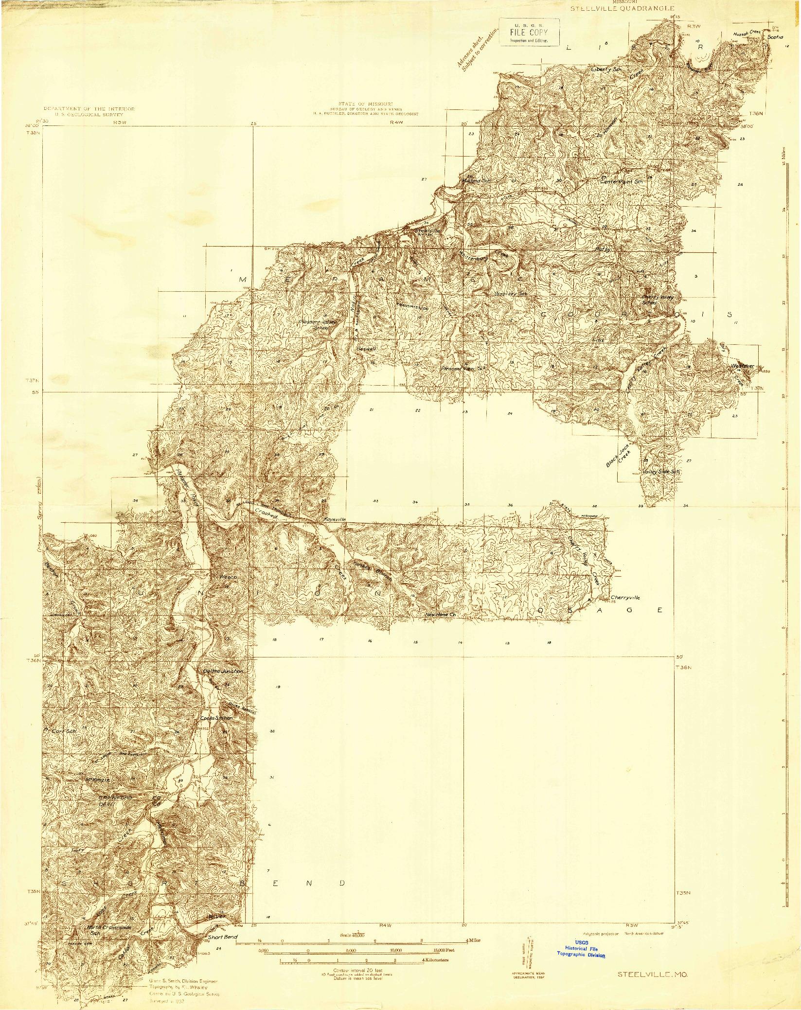 USGS 1:48000-SCALE QUADRANGLE FOR STEELVILLE, MO 1932