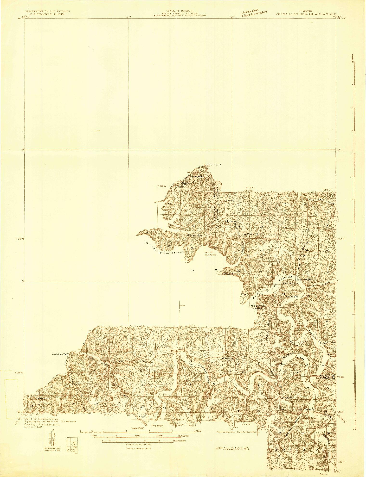 USGS 1:48000-SCALE QUADRANGLE FOR VERSAILLES NO 4, MO 1932