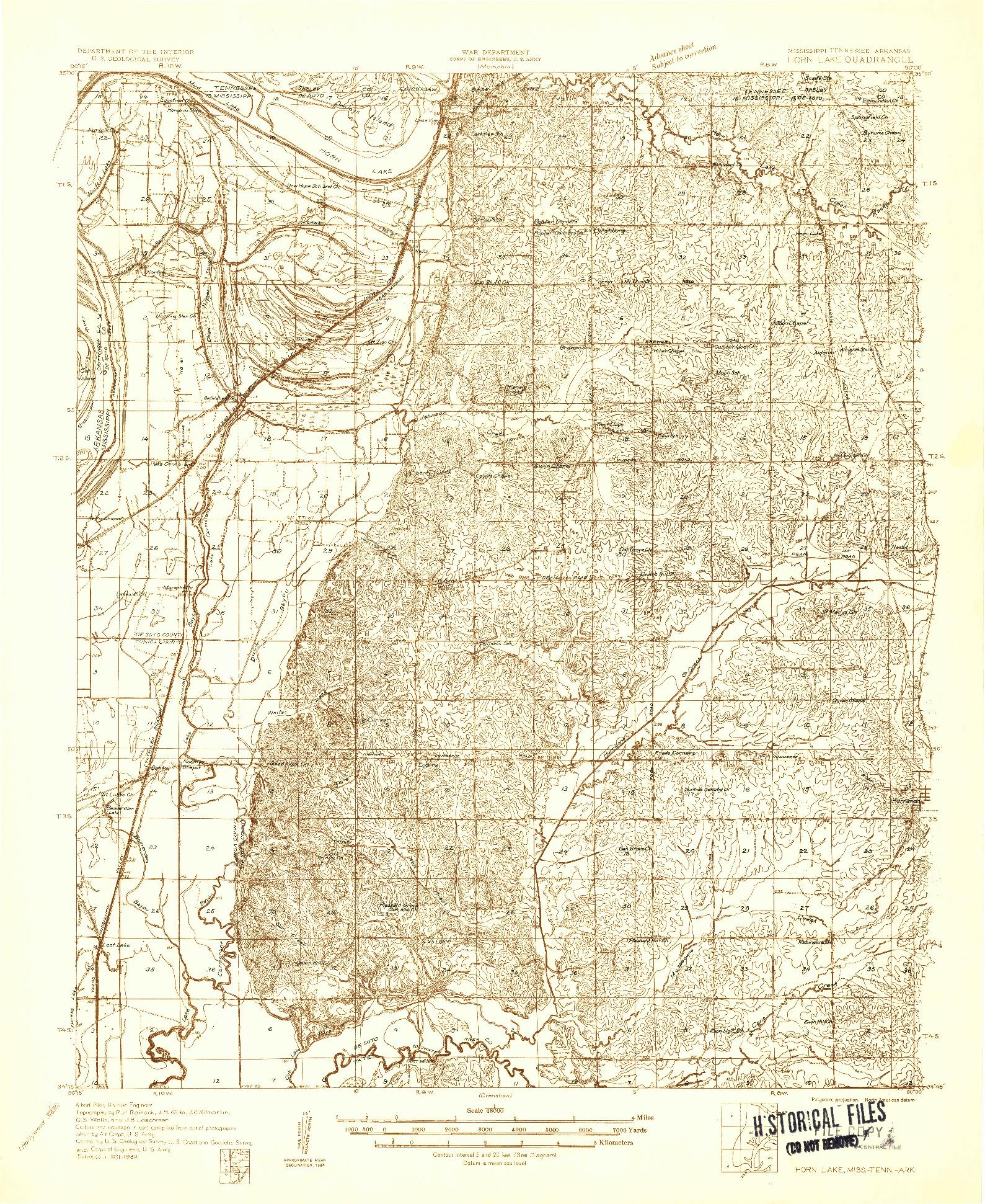 USGS 1:48000-SCALE QUADRANGLE FOR HORN LAKE, MS 1932