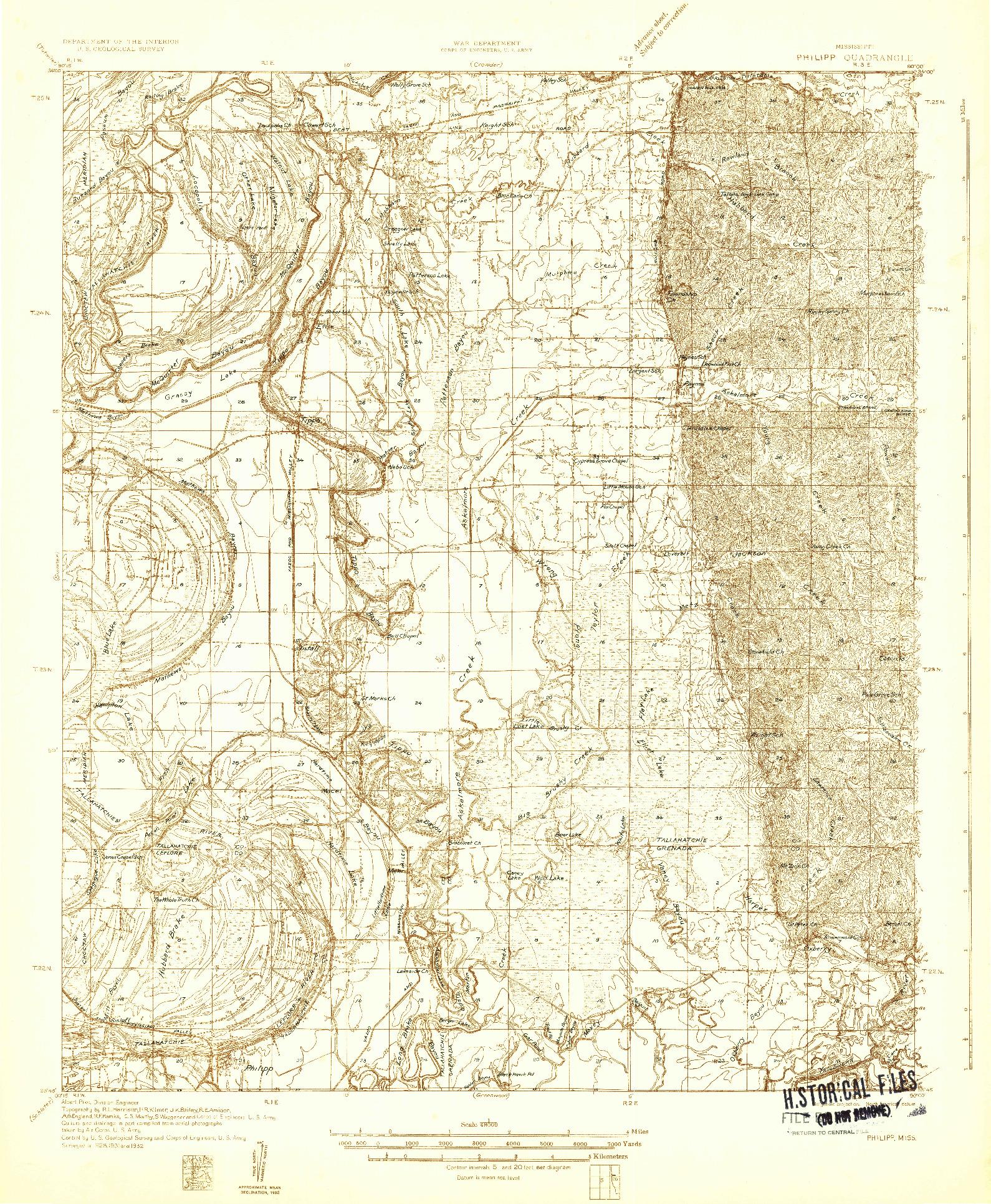 USGS 1:48000-SCALE QUADRANGLE FOR PHILIPP, MS 1932