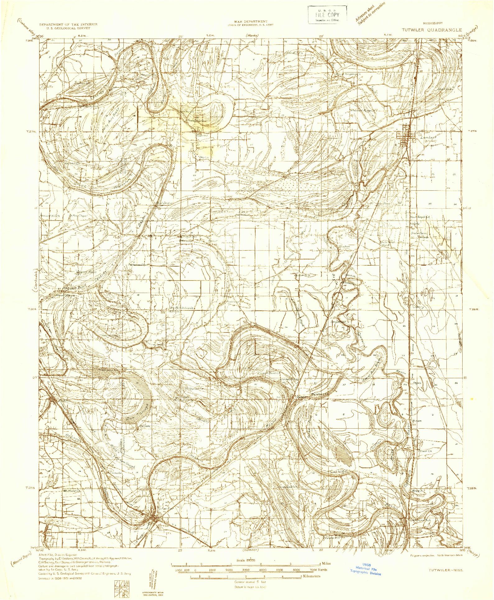 USGS 1:48000-SCALE QUADRANGLE FOR TUTWILER, MS 1932