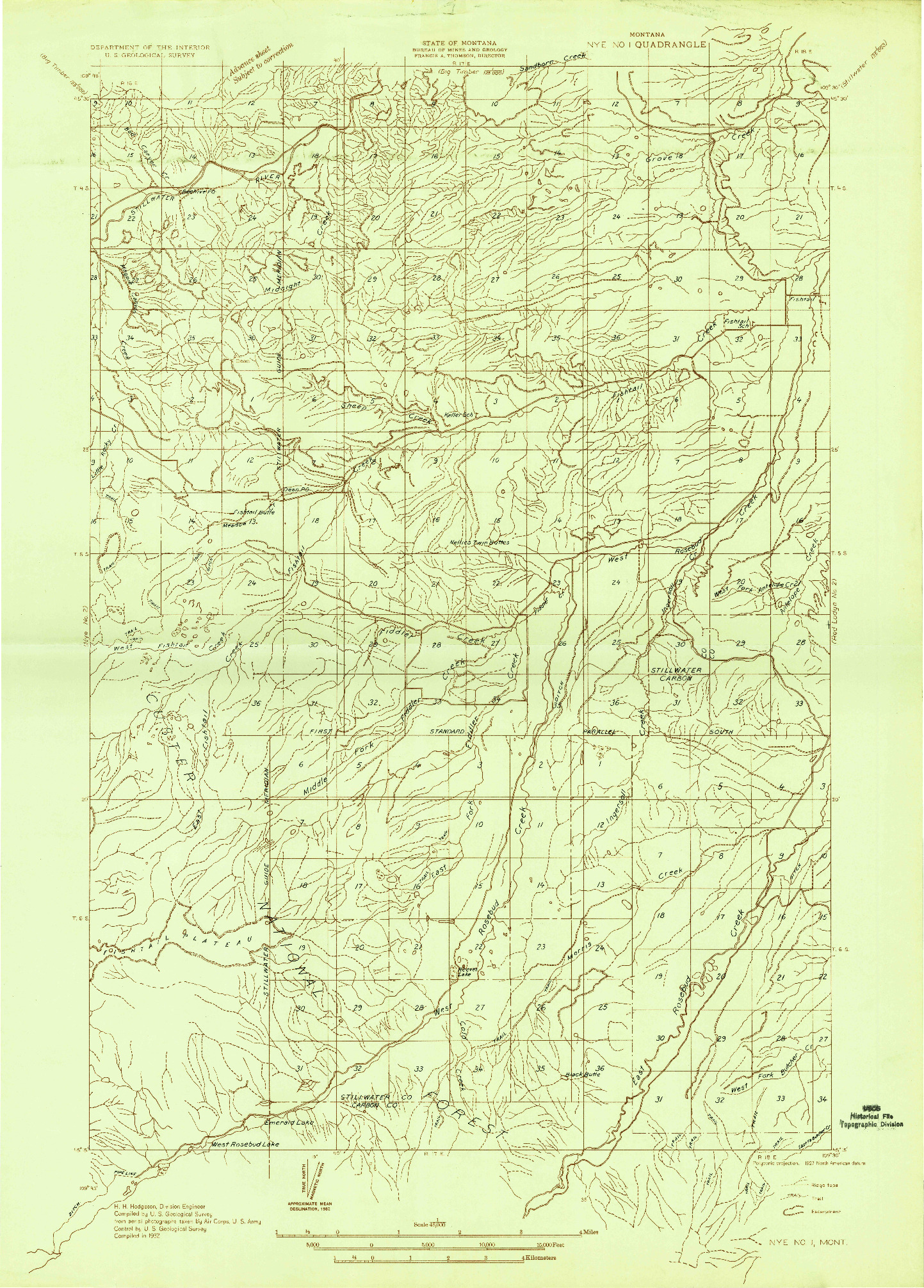 USGS 1:48000-SCALE QUADRANGLE FOR NYE NO 1, MT 1932