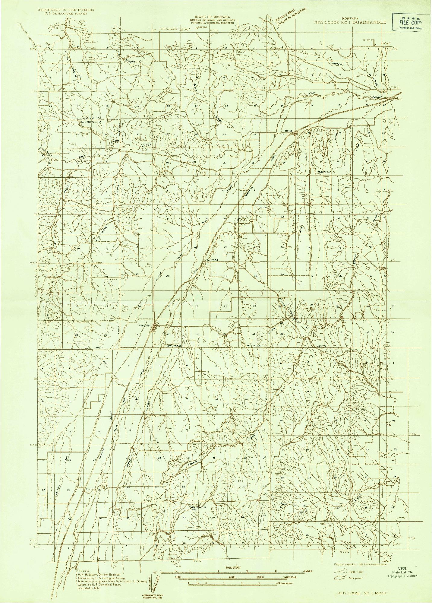 USGS 1:48000-SCALE QUADRANGLE FOR RED LODGE NO 1, MT 1932