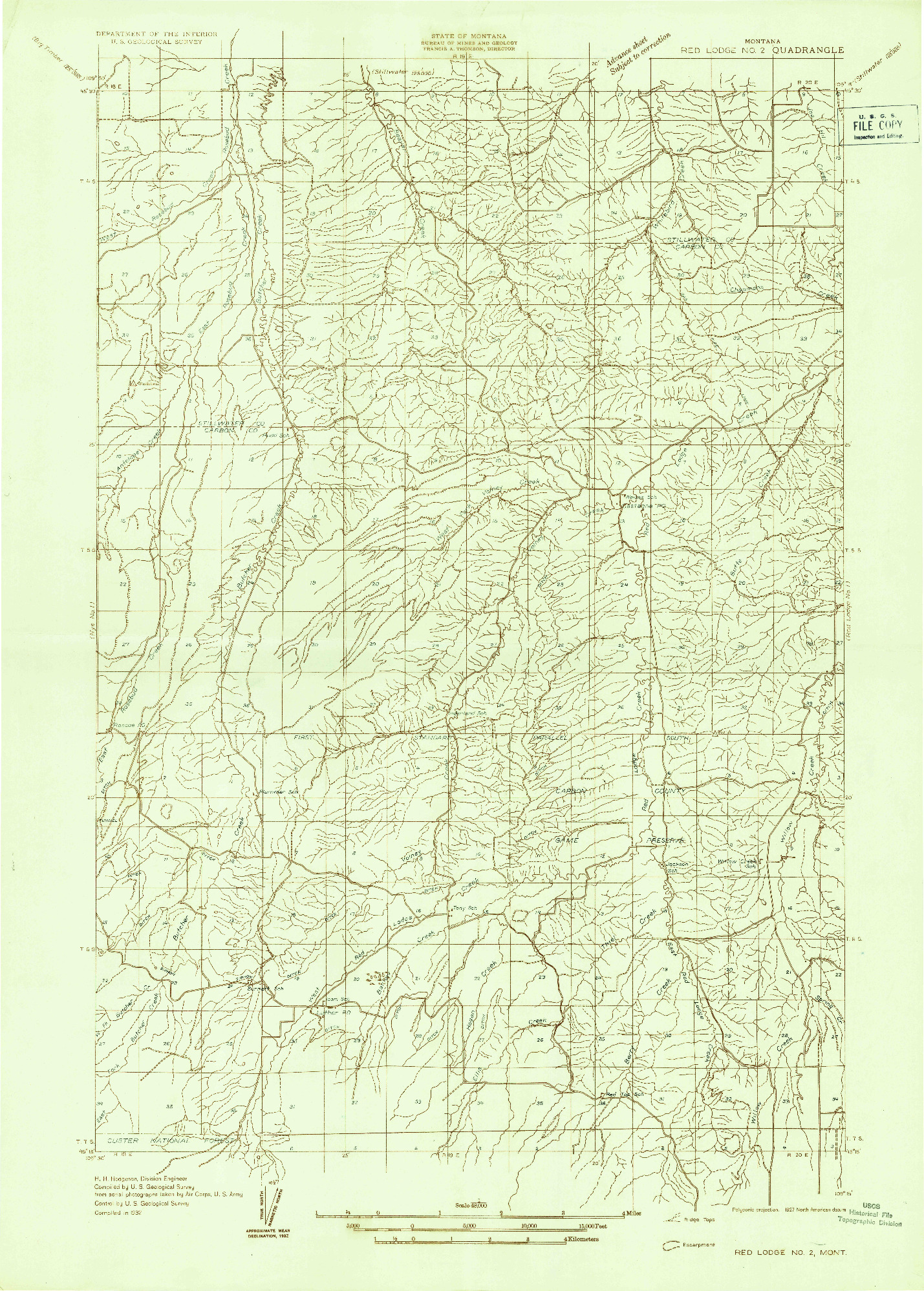 USGS 1:48000-SCALE QUADRANGLE FOR RED LODGE NO 2, MT 1932