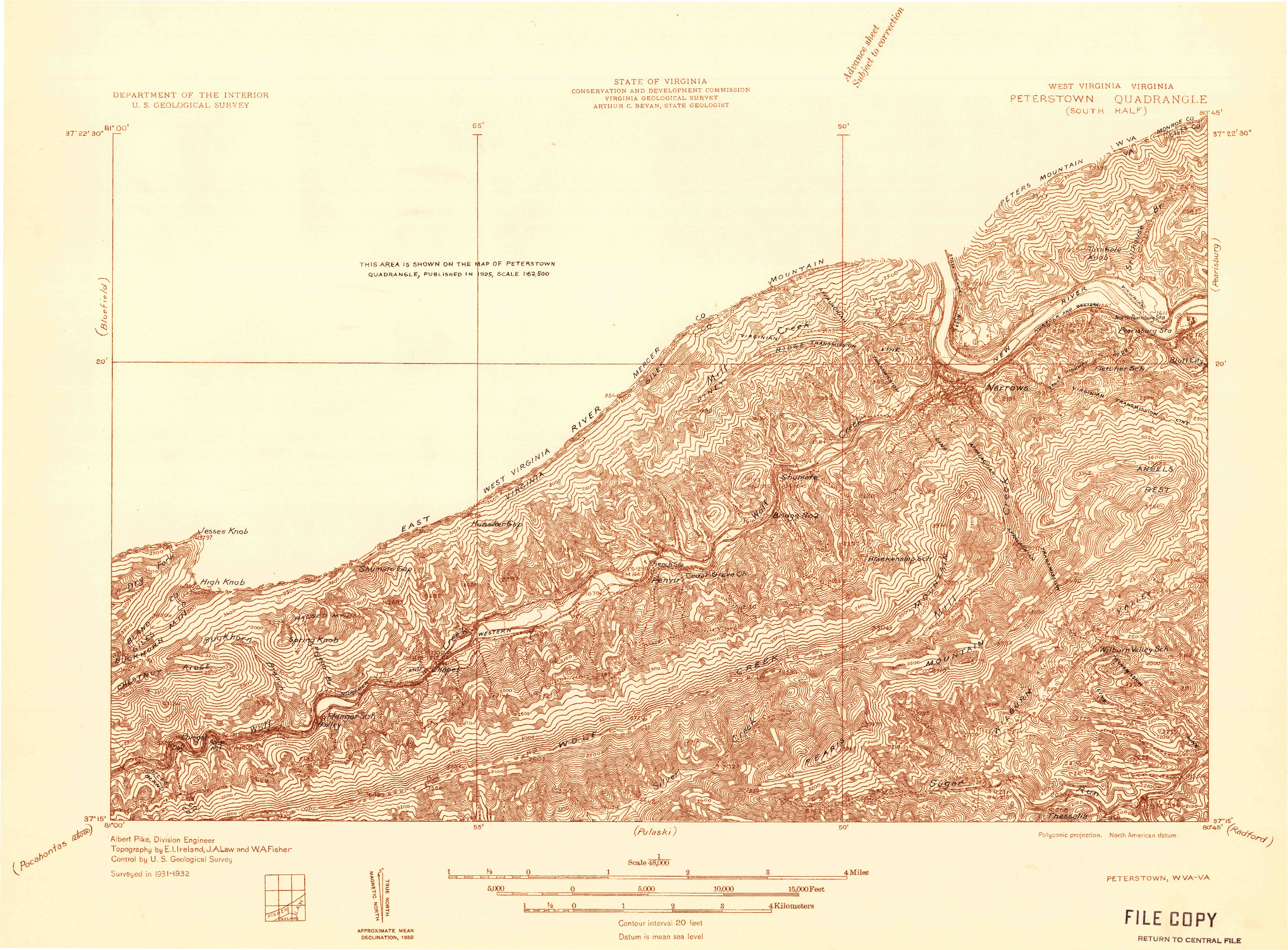 USGS 1:48000-SCALE QUADRANGLE FOR PETERSTOWN, WV 1932