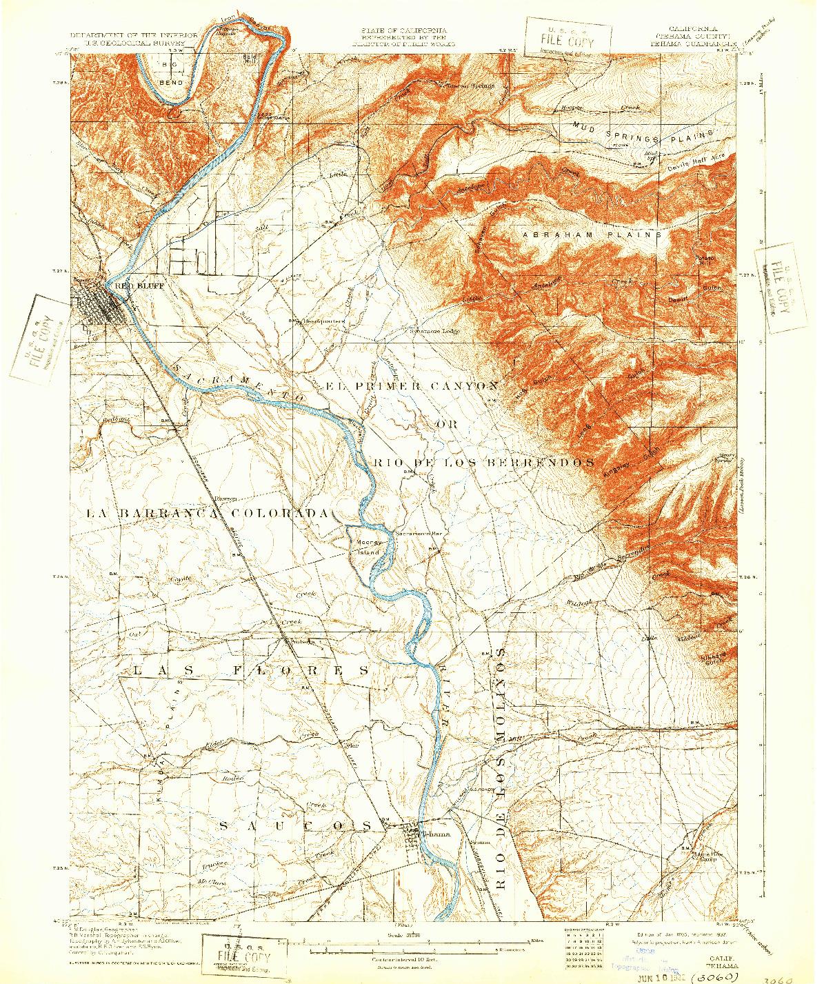 USGS 1:62500-SCALE QUADRANGLE FOR TEHAMA, CA 1905