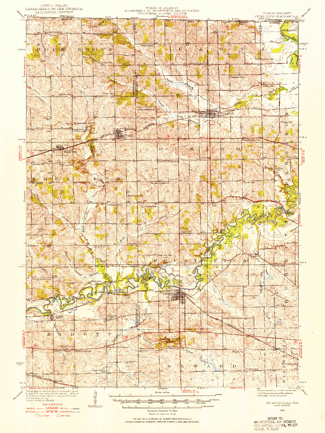 USGS 1:62500-SCALE QUADRANGLE FOR PECATONICA, IL 1932