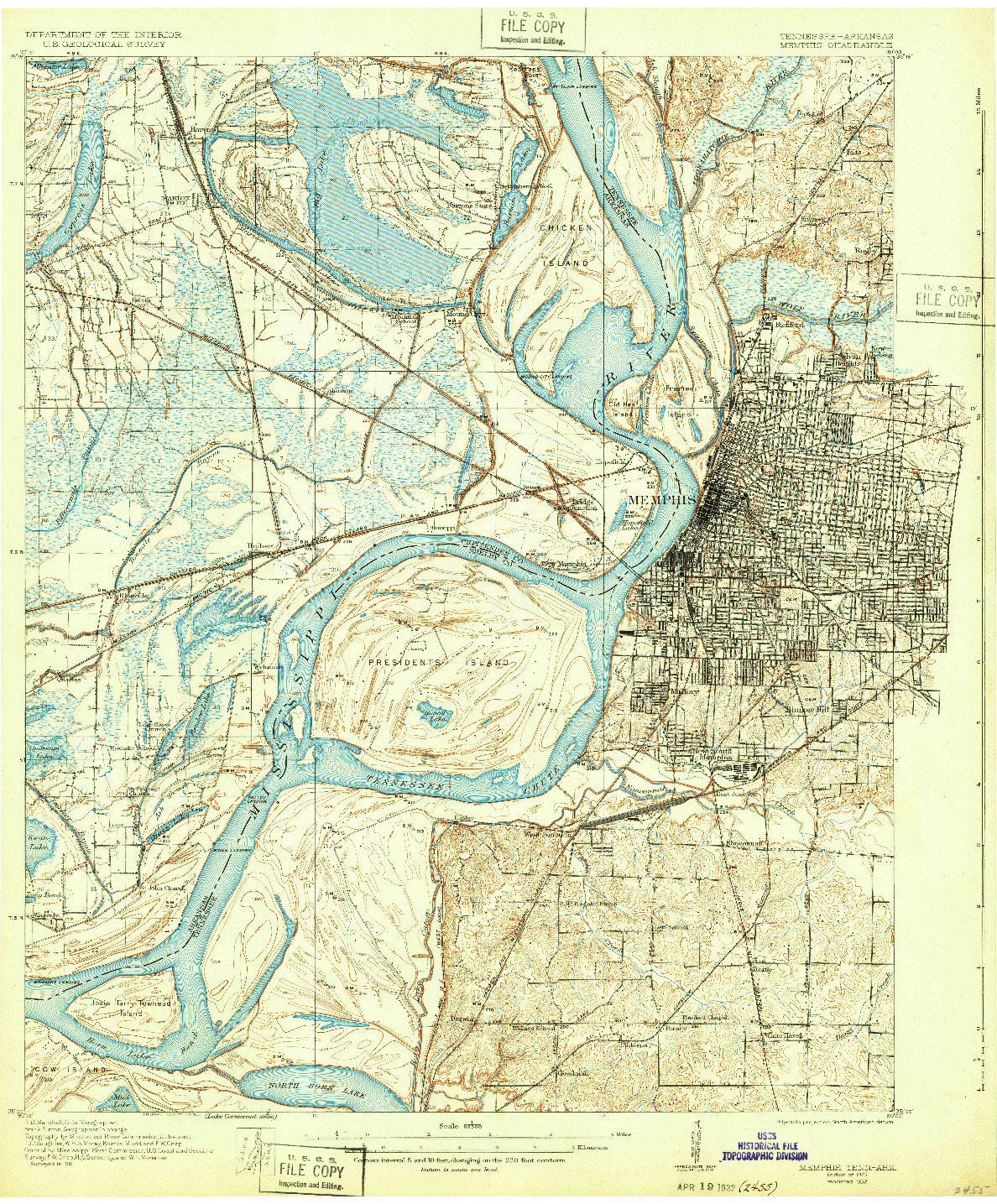 USGS 1:62500-SCALE QUADRANGLE FOR MEMPHIS, TN 1927