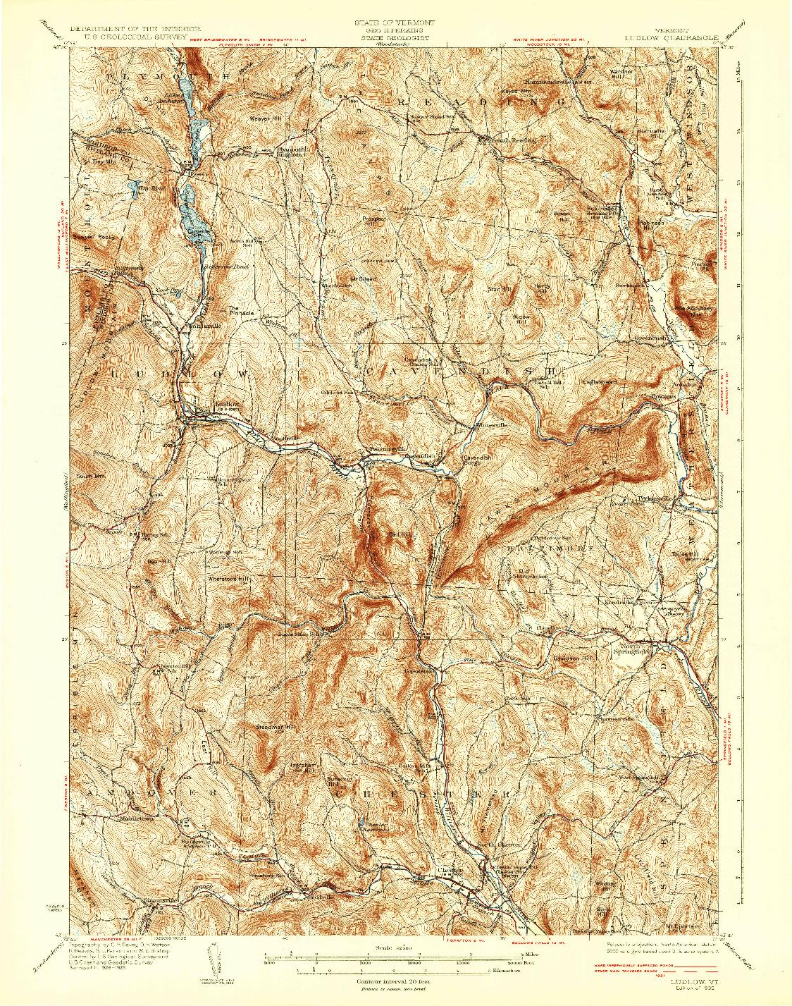 USGS 1:62500-SCALE QUADRANGLE FOR LUDLOW, VT 1932