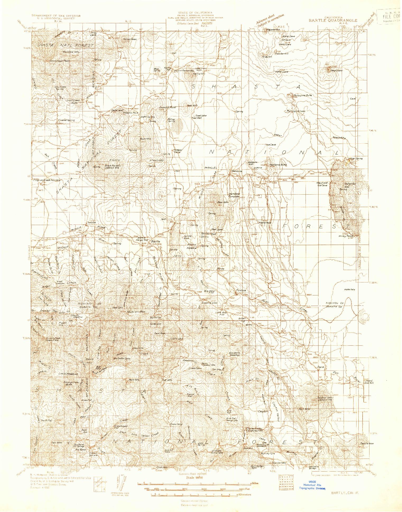 USGS 1:96000-SCALE QUADRANGLE FOR BARTLE, CA 1932