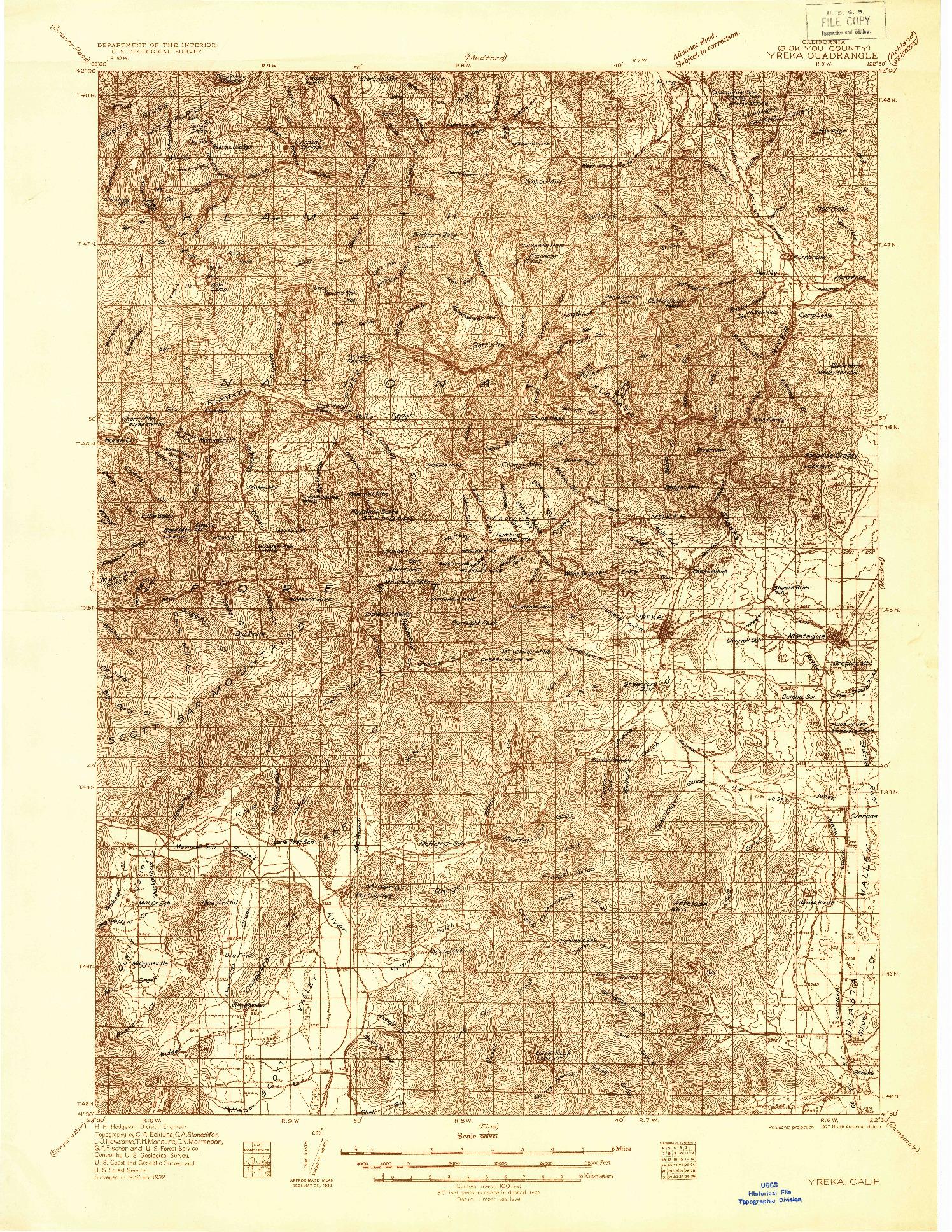 USGS 1:96000-SCALE QUADRANGLE FOR YREKA, CA 1932