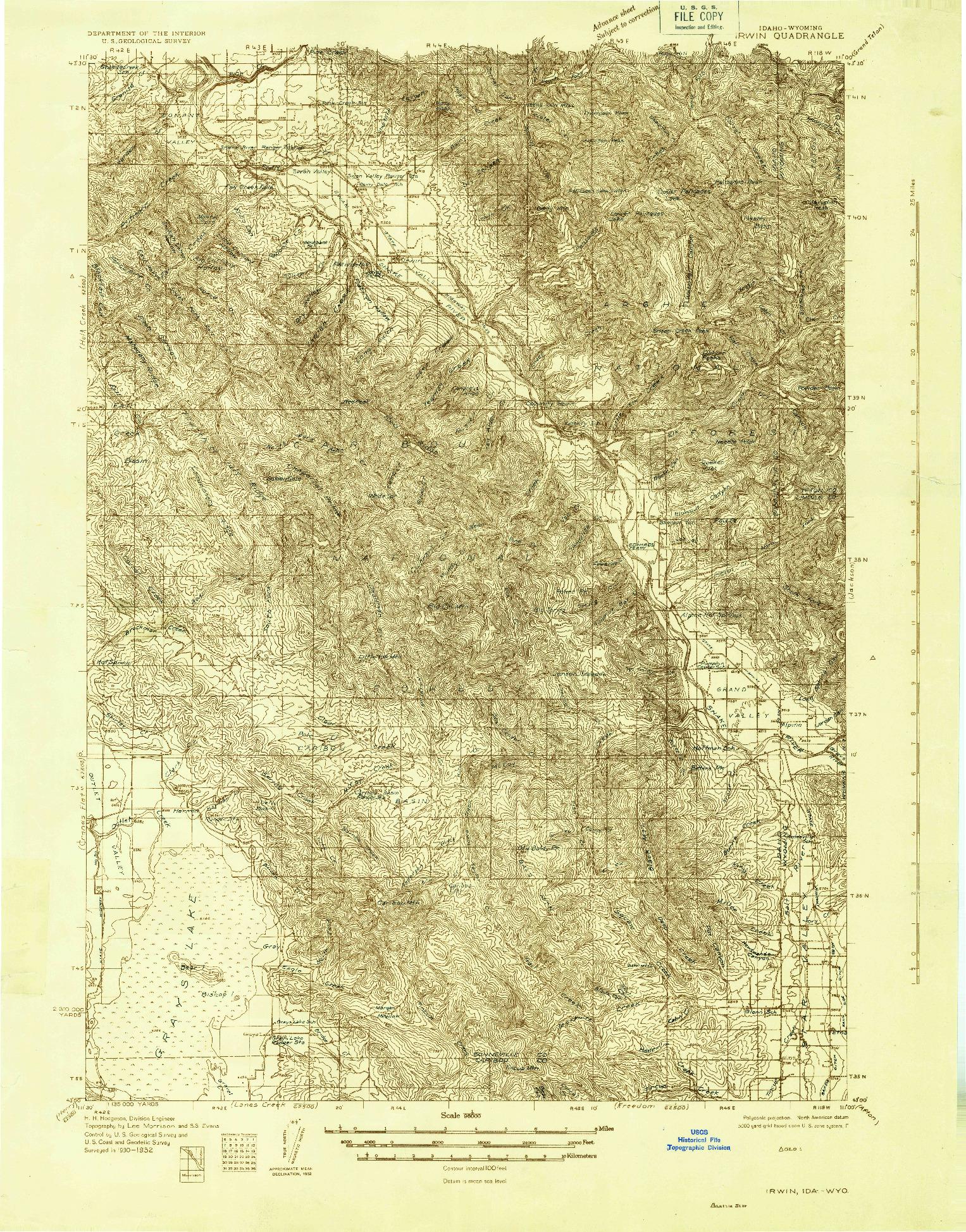 USGS 1:96000-SCALE QUADRANGLE FOR IRWIN, ID 1932