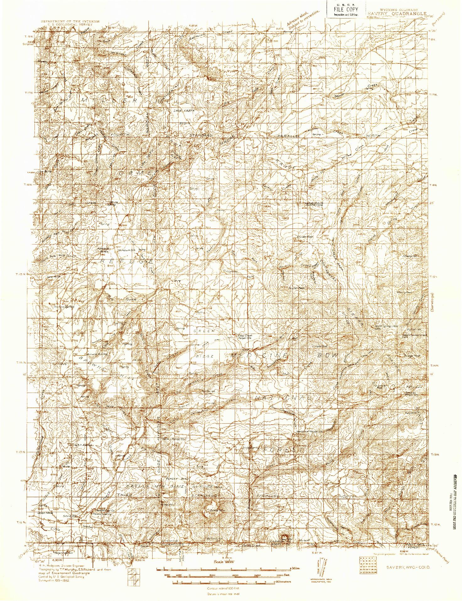 USGS 1:96000-SCALE QUADRANGLE FOR SAVERY, WY 1932