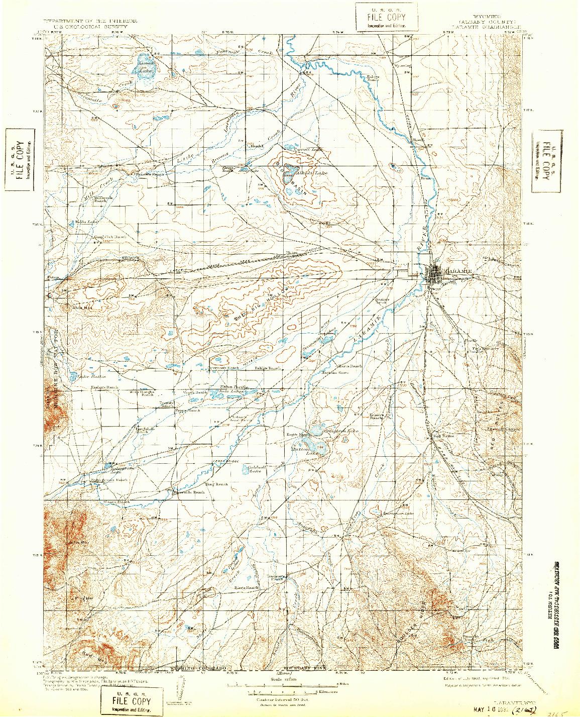 USGS 1:125000-SCALE QUADRANGLE FOR LARAMIE, WY 1908