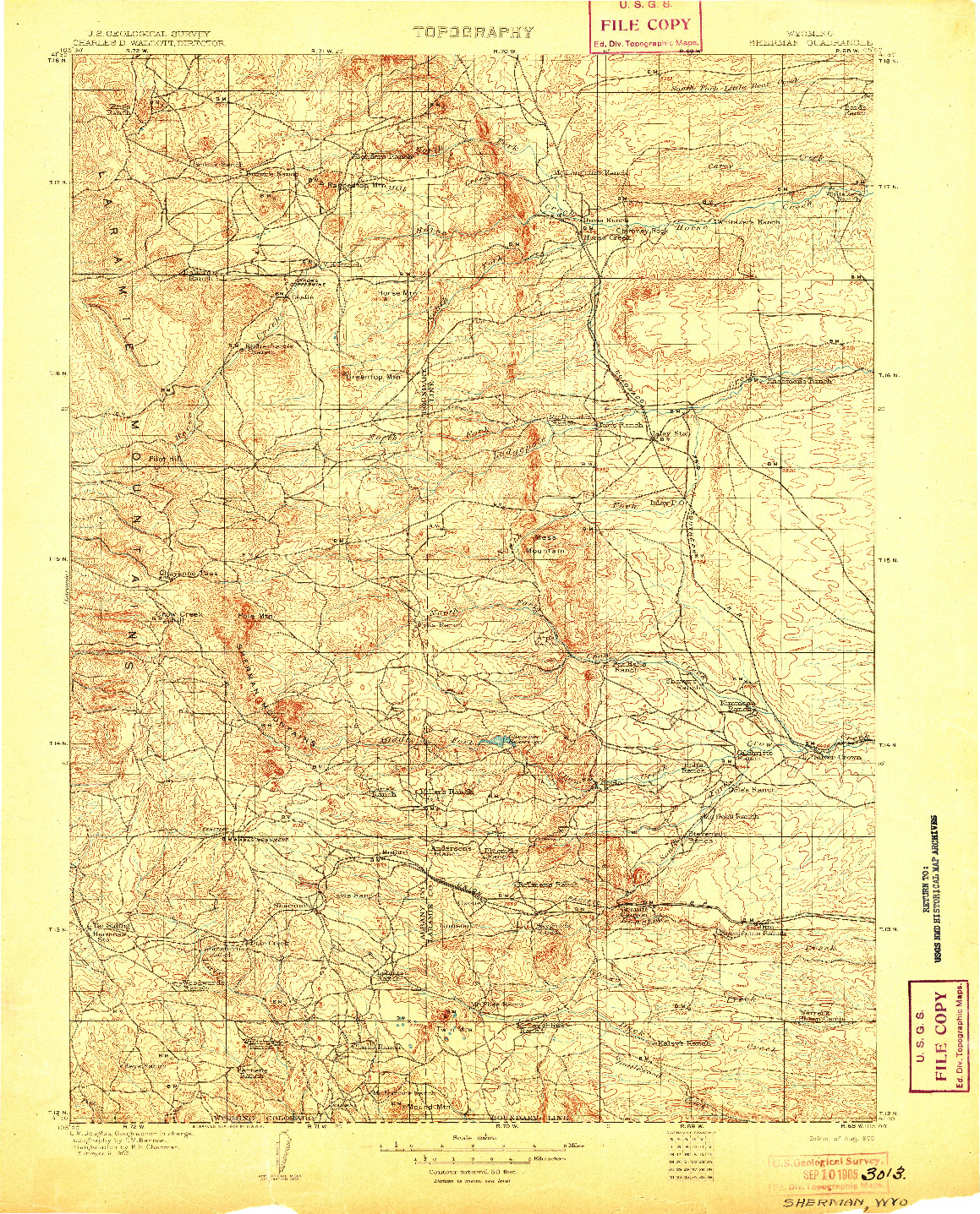 USGS 1:125000-SCALE QUADRANGLE FOR SHERMAN, WY 1905