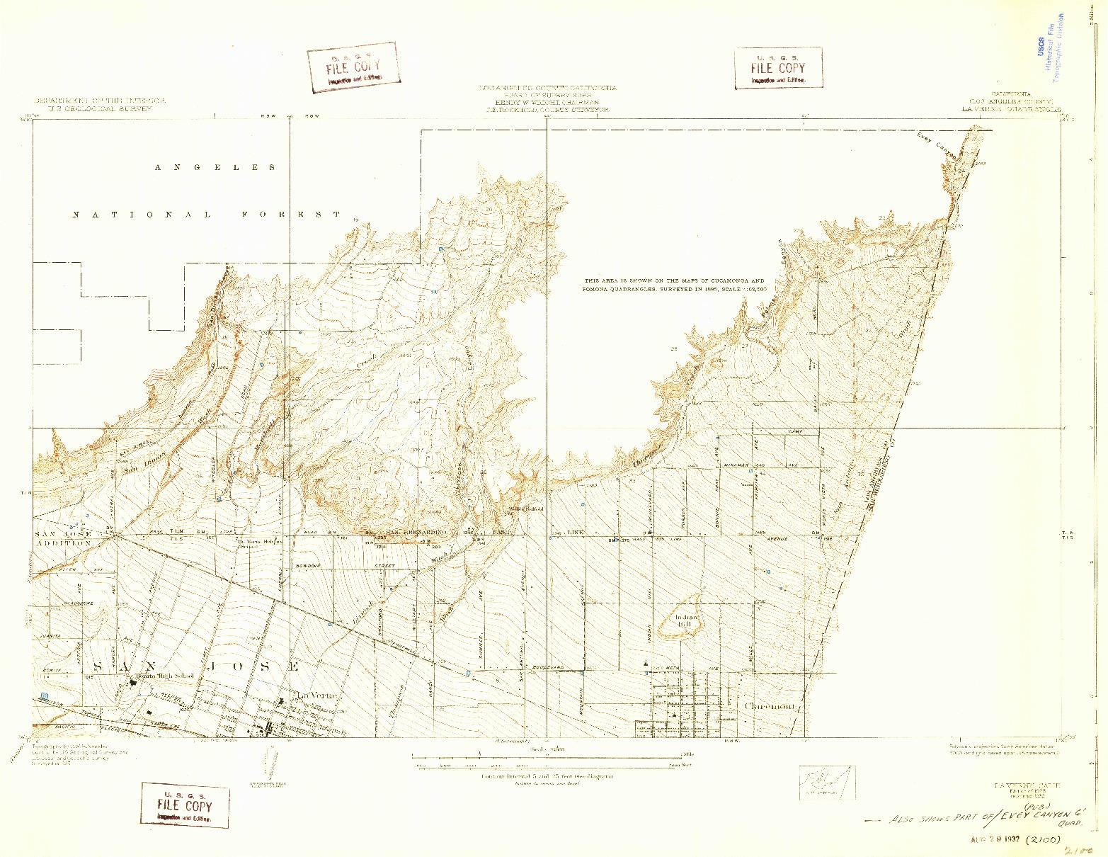 USGS 1:24000-SCALE QUADRANGLE FOR LA VERNE, CA 1928