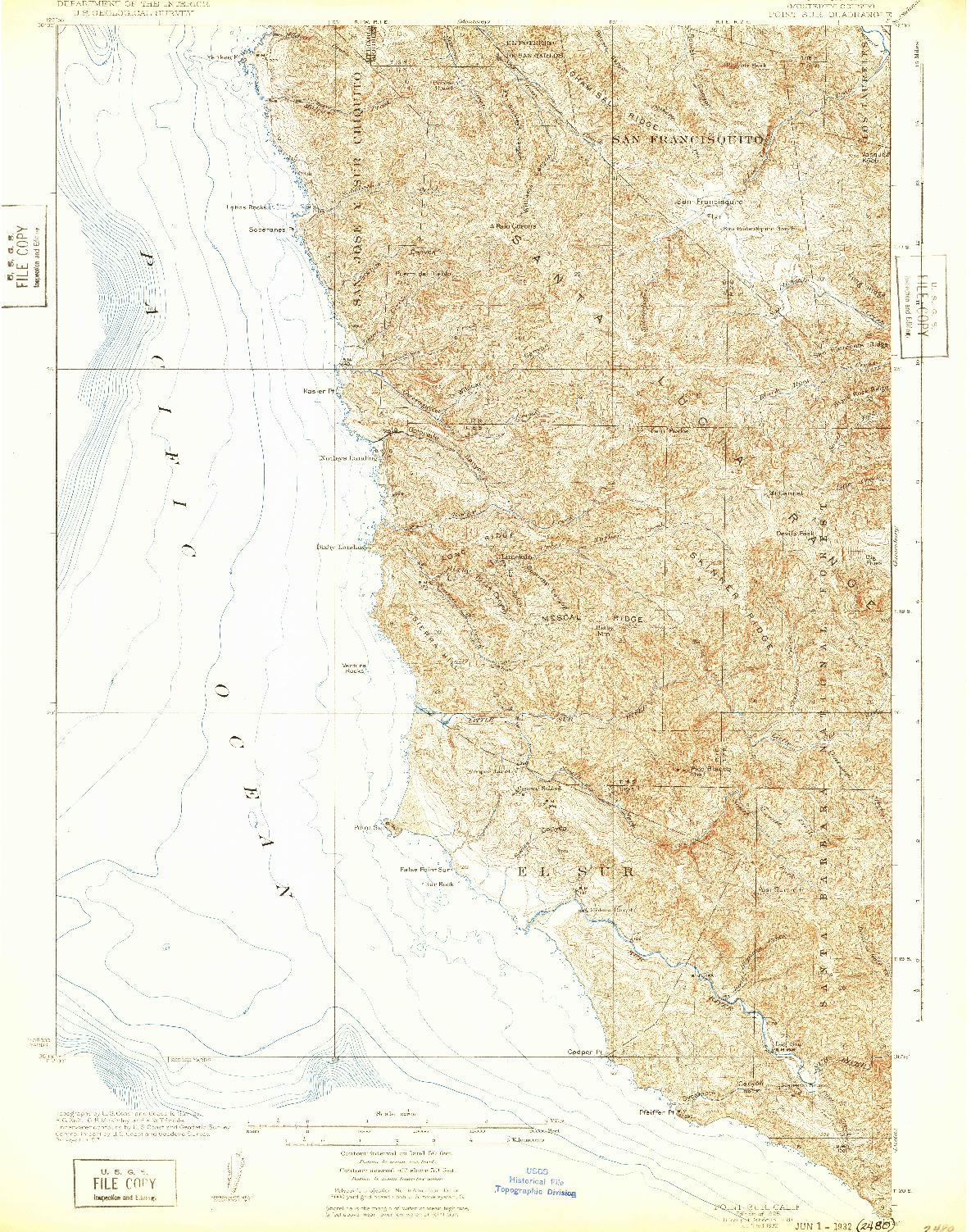 USGS 1:62500-SCALE QUADRANGLE FOR POINT SUR, CA 1925