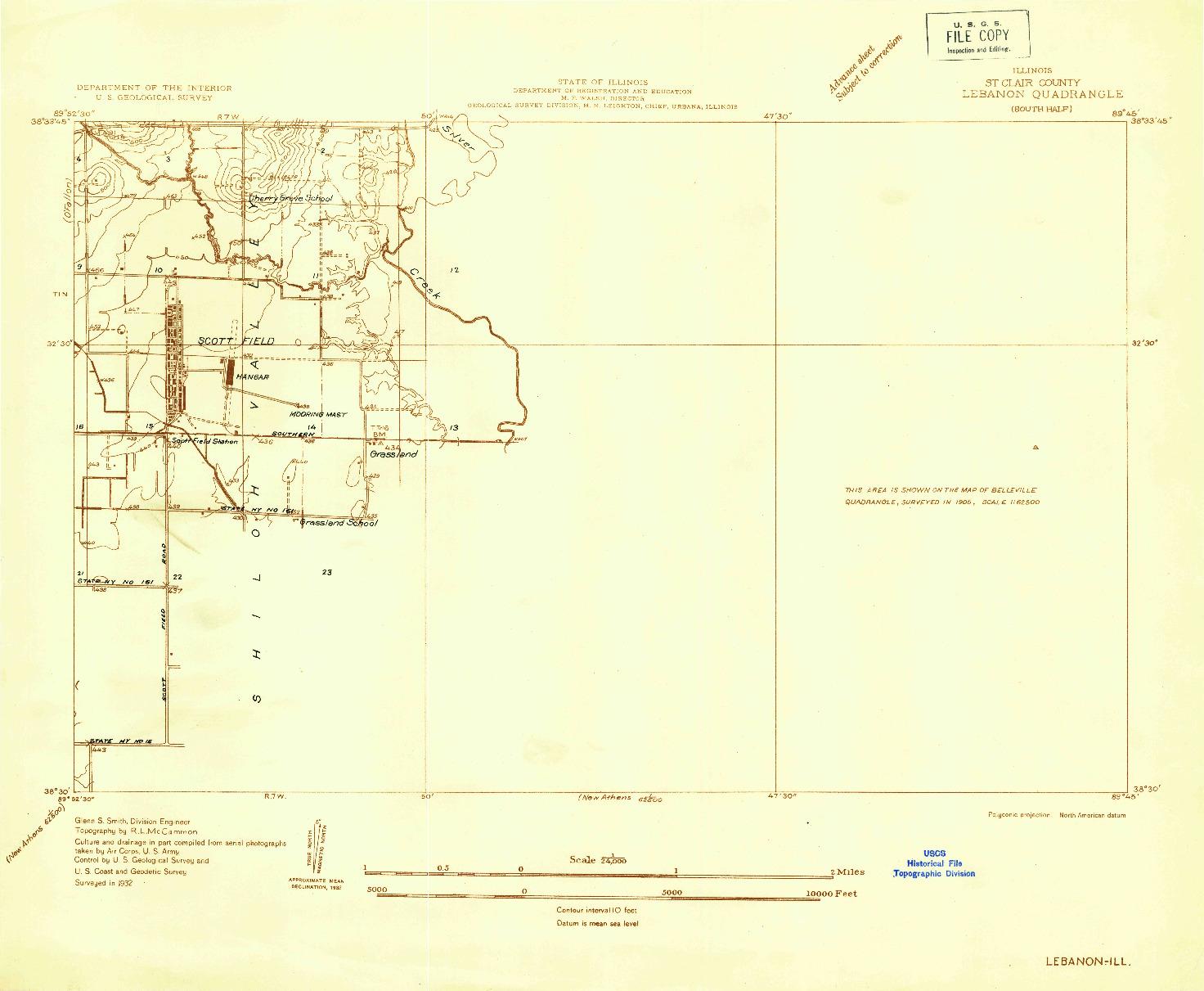 USGS 1:24000-SCALE QUADRANGLE FOR LEBANON, IL 1932