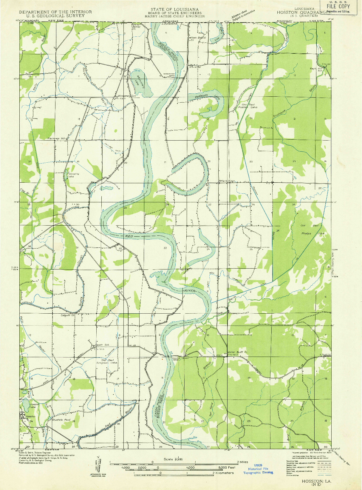USGS 1:31680-SCALE QUADRANGLE FOR HOSSTON NE, LA 1932
