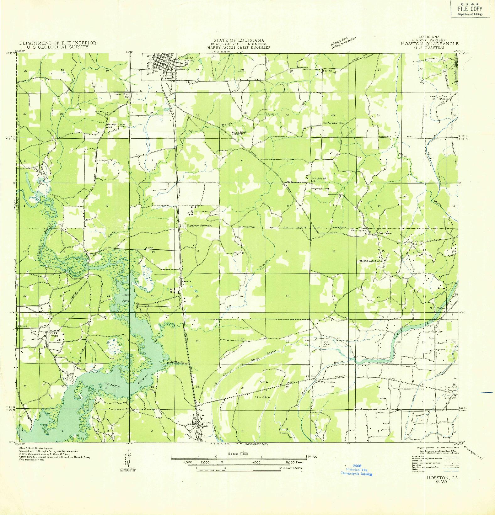 USGS 1:31680-SCALE QUADRANGLE FOR HOSSTON SW, LA 1932