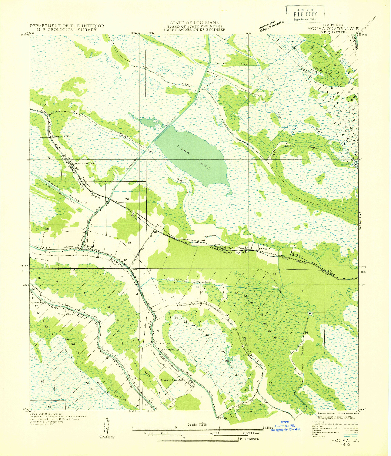 USGS 1:31680-SCALE QUADRANGLE FOR HOUMA SE, LA 1932