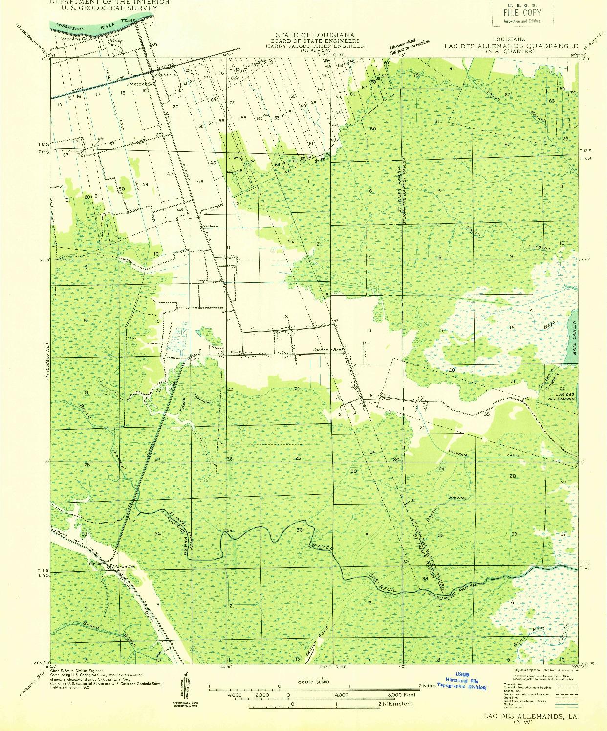 USGS 1:31680-SCALE QUADRANGLE FOR LAC DES ALLEMANDS NW, LA 1932