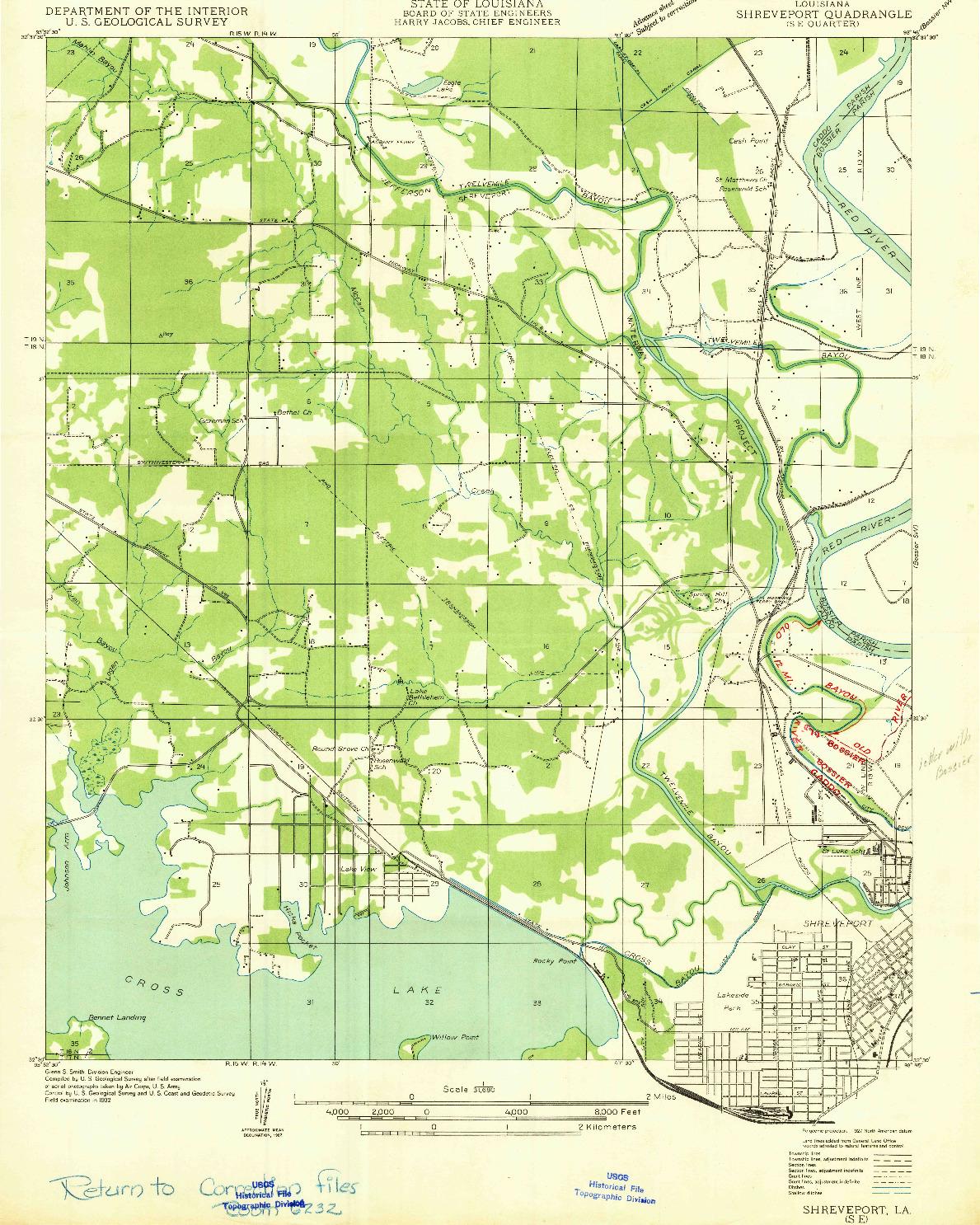 USGS 1:31680-SCALE QUADRANGLE FOR SHREVEPORT SE, LA 1932