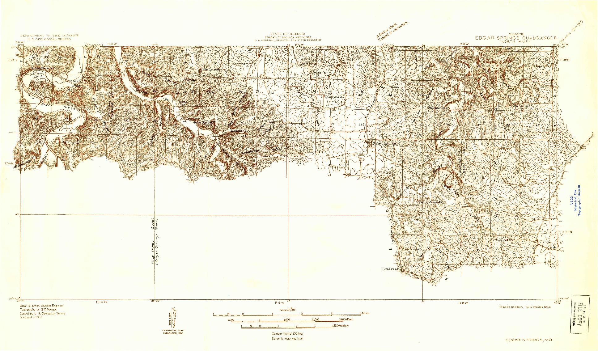 USGS 1:48000-SCALE QUADRANGLE FOR EDGAR SPRINGS, MO 1932