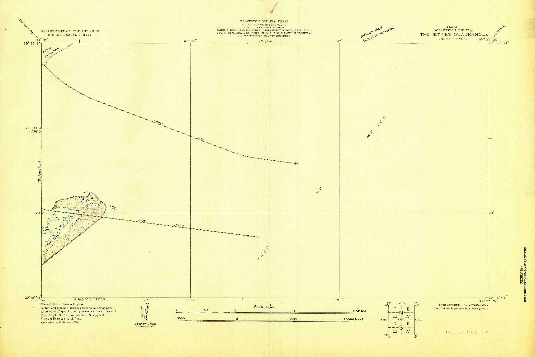 USGS 1:24000-SCALE QUADRANGLE FOR THE JETTIES, TX 1932
