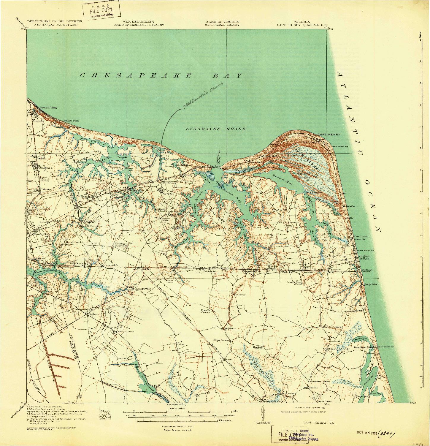 USGS 1:62500-SCALE QUADRANGLE FOR CAPE HENRY, VA 1919