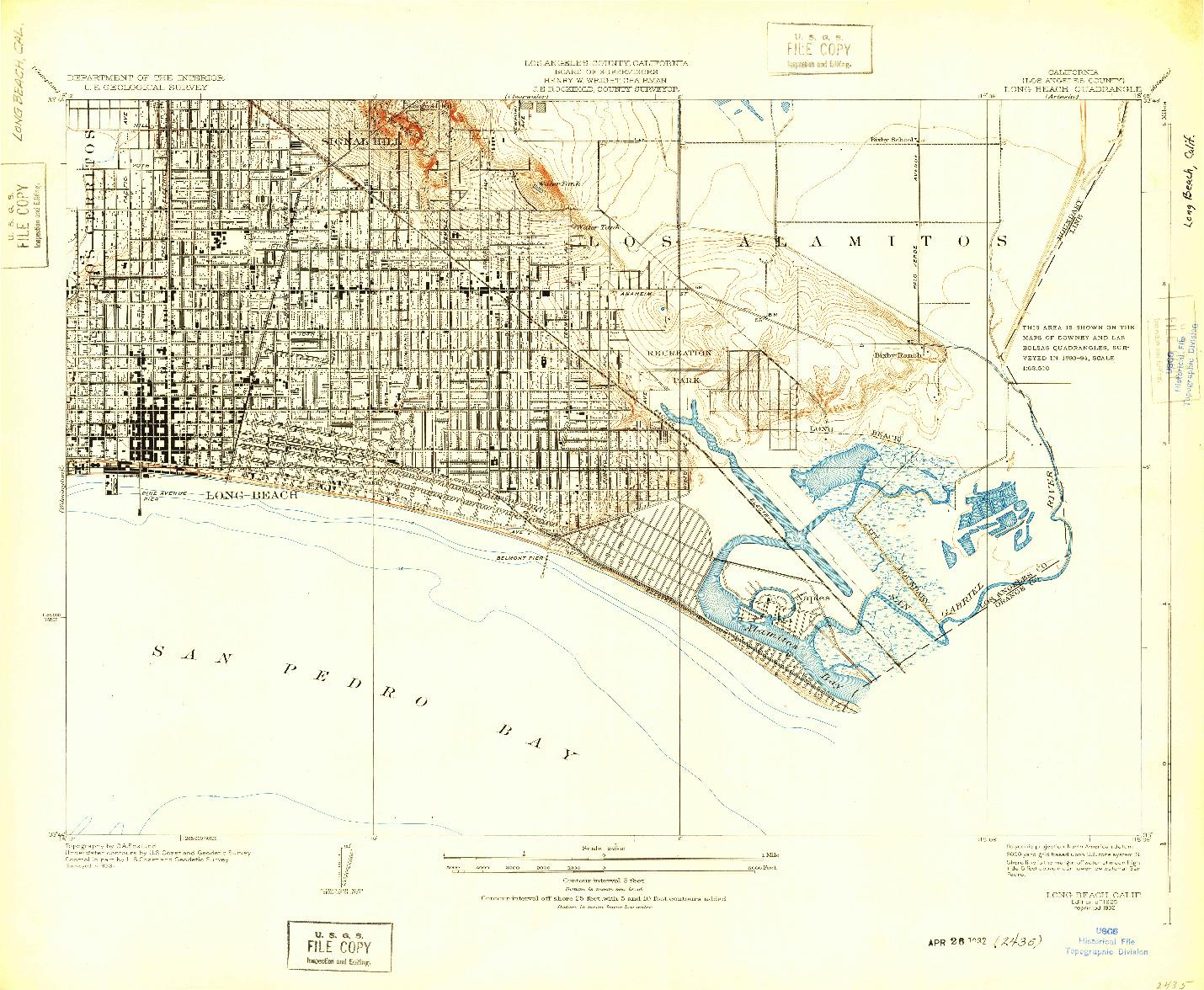 USGS 1:24000-SCALE QUADRANGLE FOR LONG BEACH, CA 1925