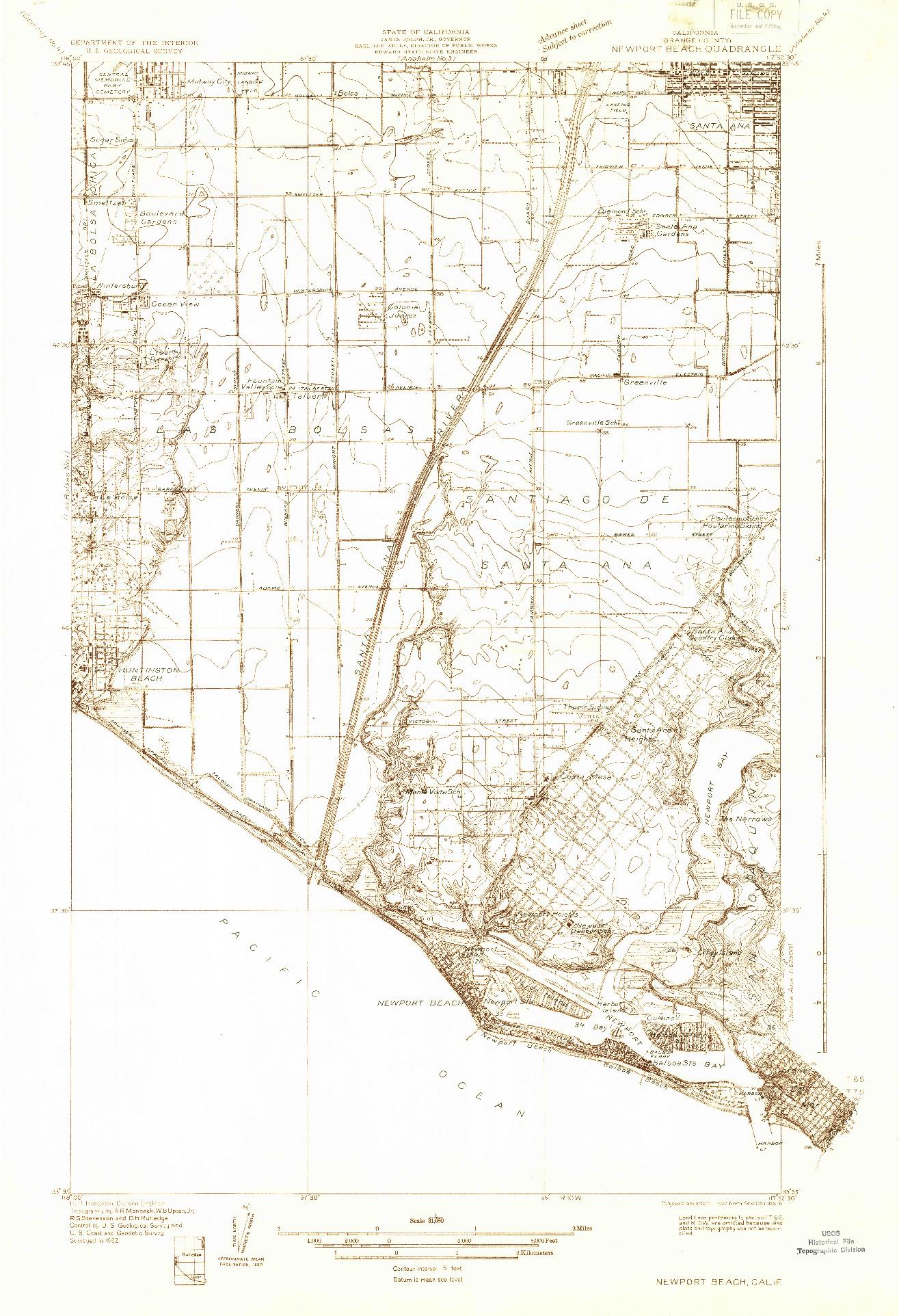 USGS 1:31680-SCALE QUADRANGLE FOR NEWPORT BEACH, CA 1932