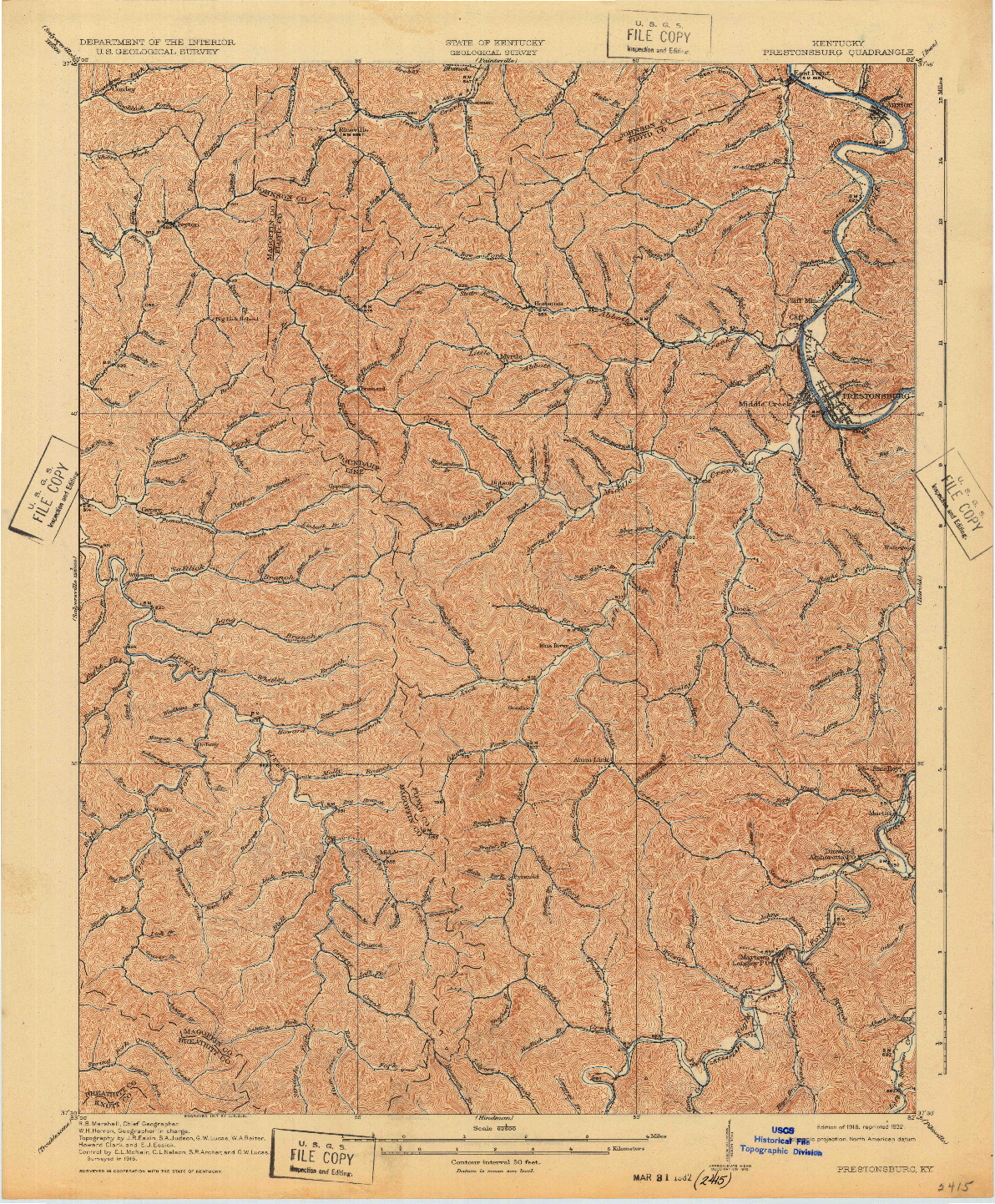 USGS 1:62500-SCALE QUADRANGLE FOR PRESTONSBURG, KY 1918