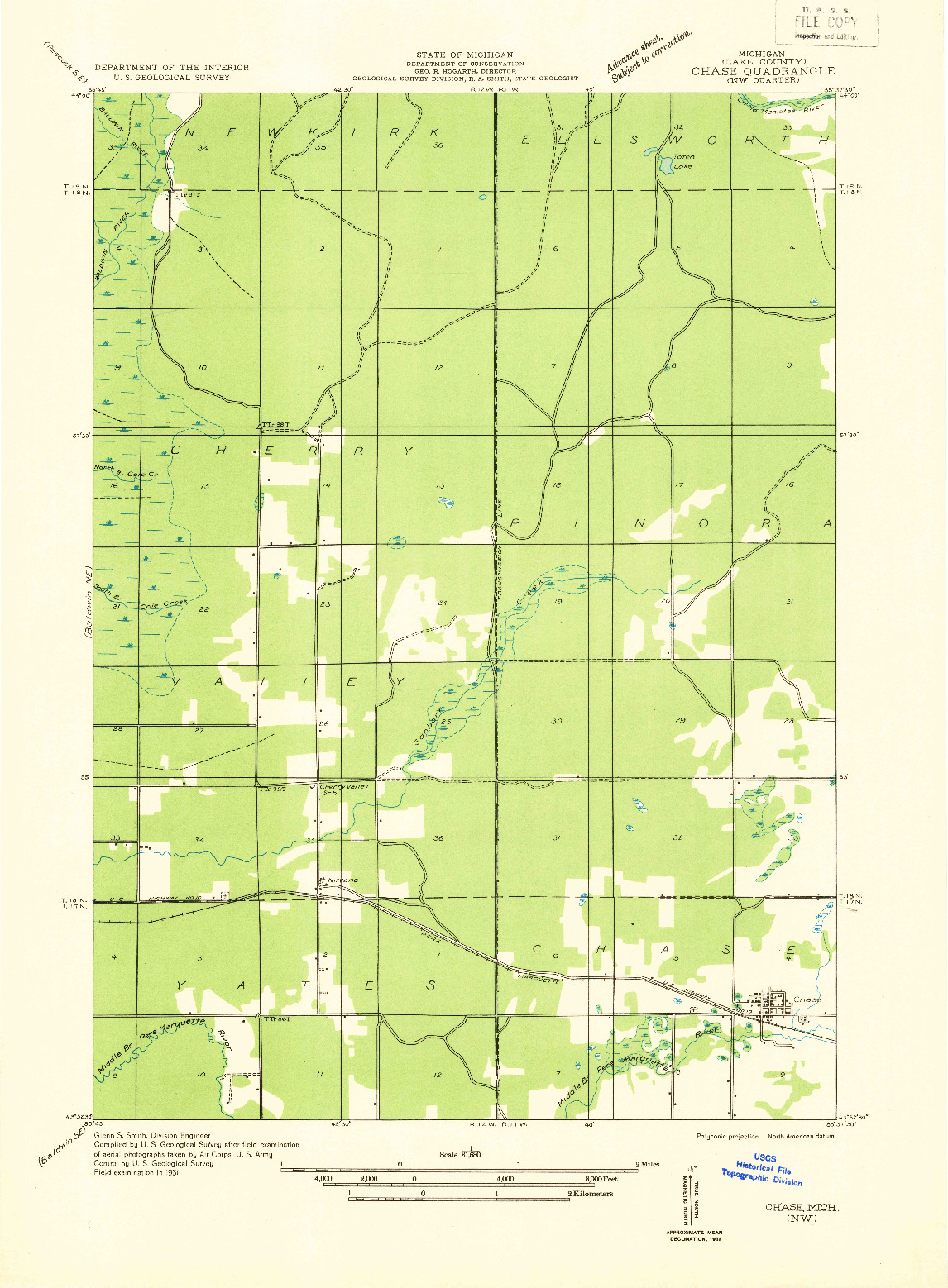 USGS 1:31680-SCALE QUADRANGLE FOR CHASE NW, MI 1932