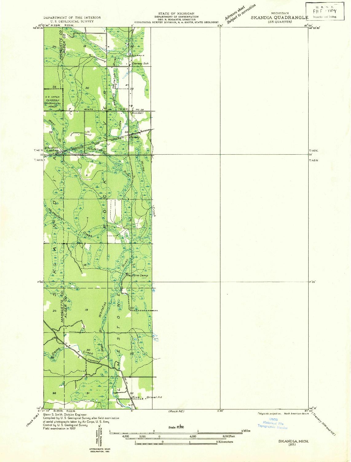 USGS 1:31680-SCALE QUADRANGLE FOR SKANDIA SE, MI 1932