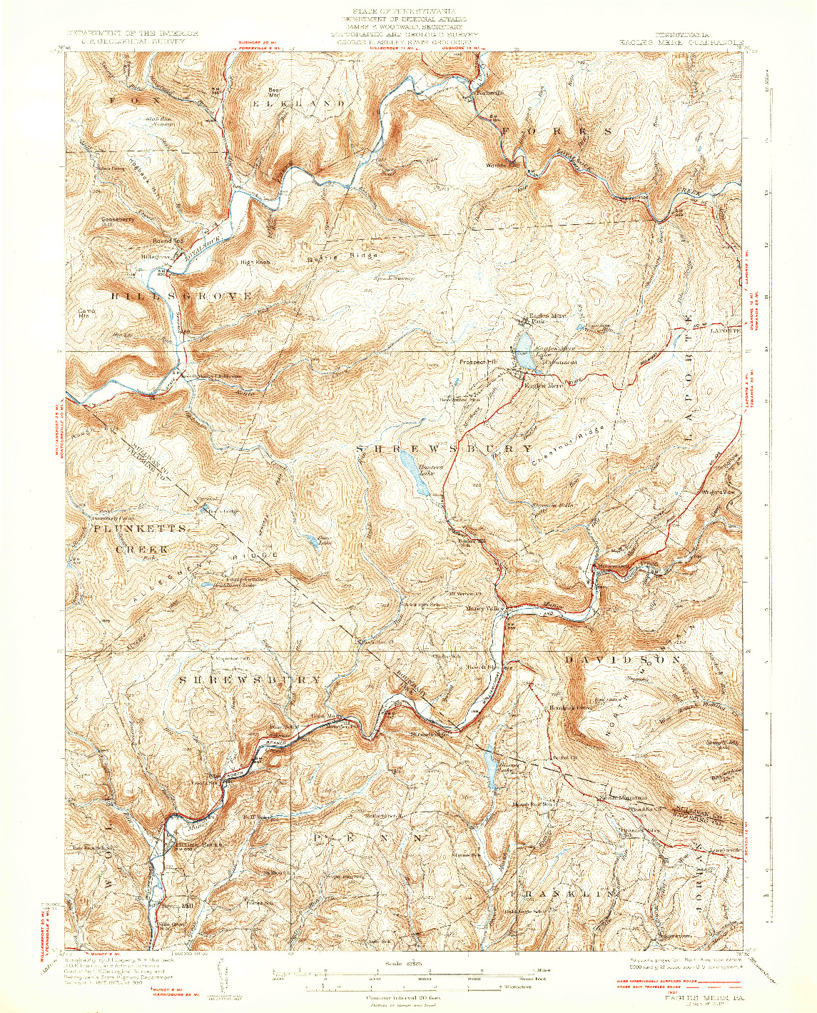 USGS 1:62500-SCALE QUADRANGLE FOR EAGLES MERE, PA 1932