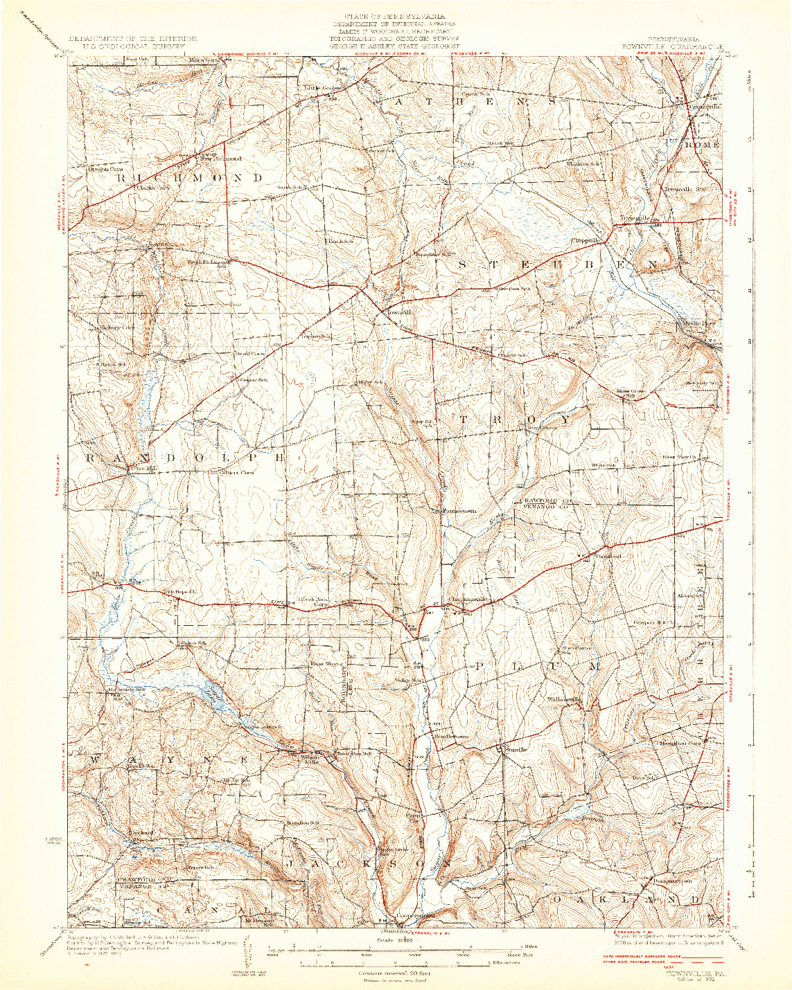 USGS 1:62500-SCALE QUADRANGLE FOR TOWNVILLE, PA 1932