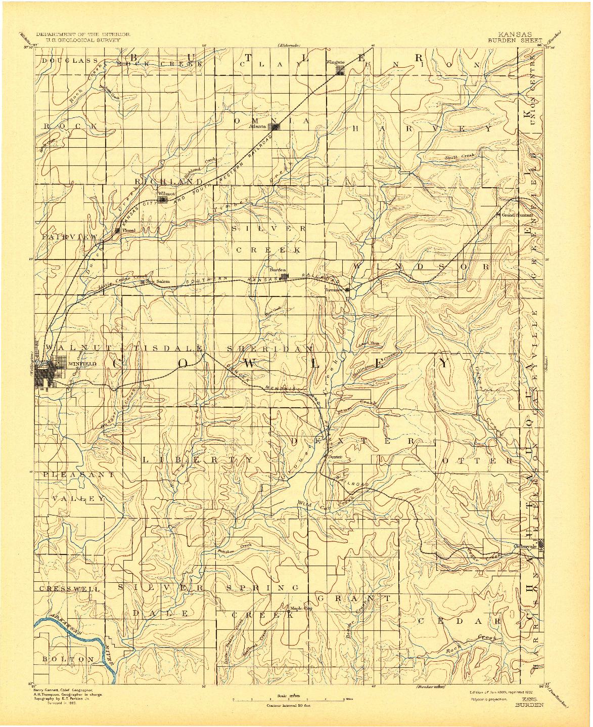 USGS 1:125000-SCALE QUADRANGLE FOR BURDEN, KS 1889