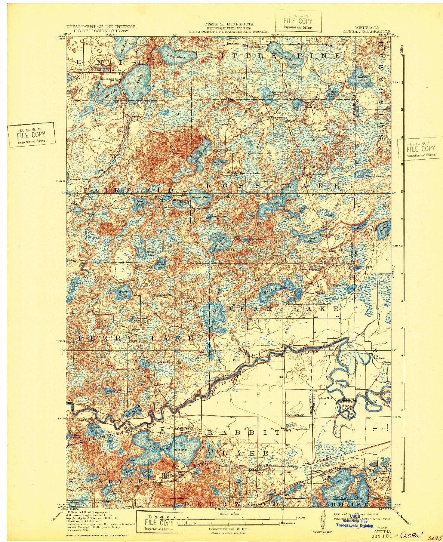 USGS 1:62500-SCALE QUADRANGLE FOR CUYUNA, MN 1915