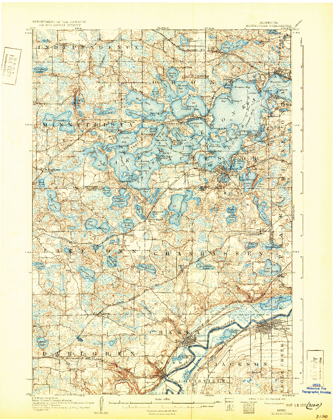 USGS 1:62500-SCALE QUADRANGLE FOR MINNETONKA, MN 1907