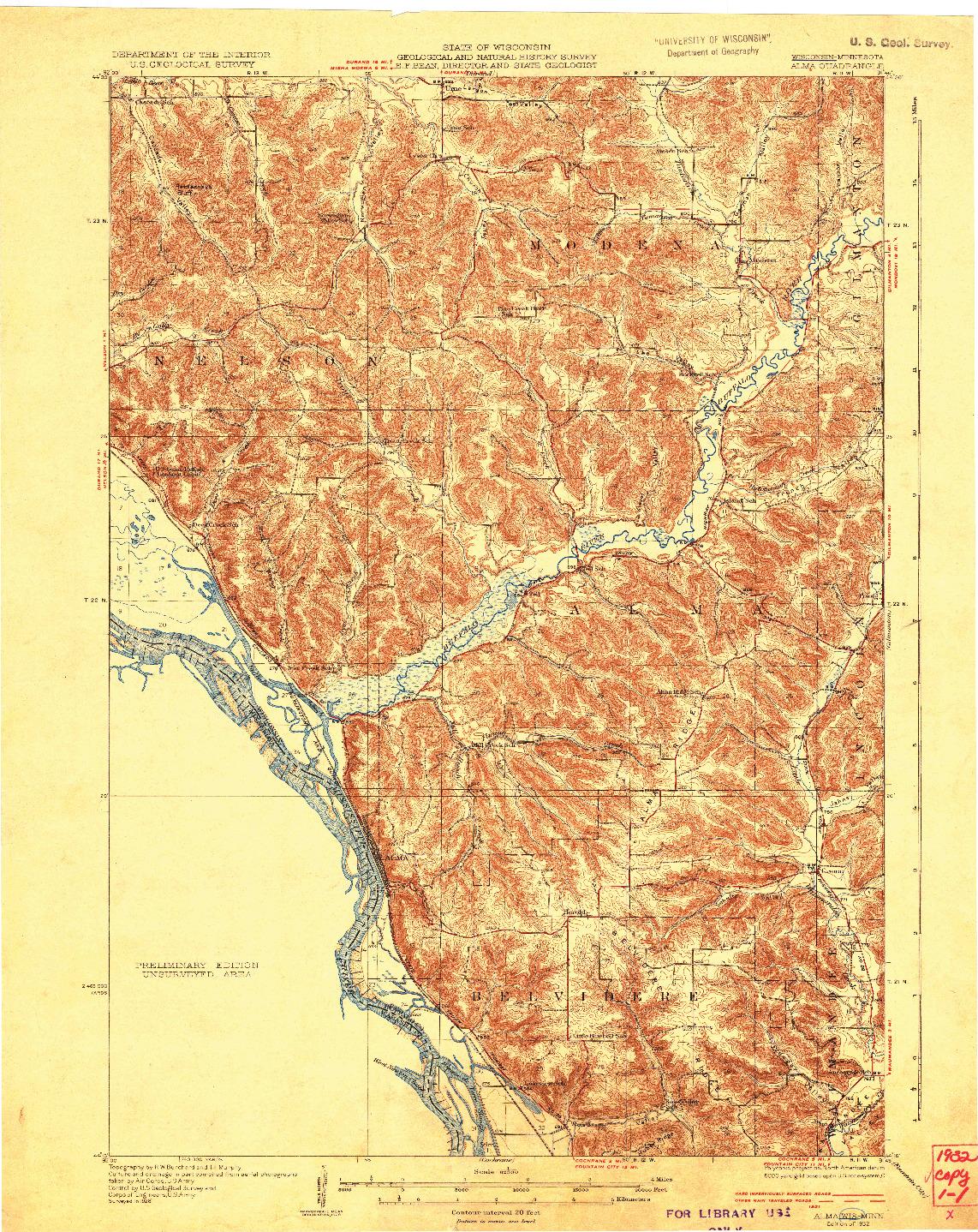 USGS 1:62500-SCALE QUADRANGLE FOR ALMA, WI 1932