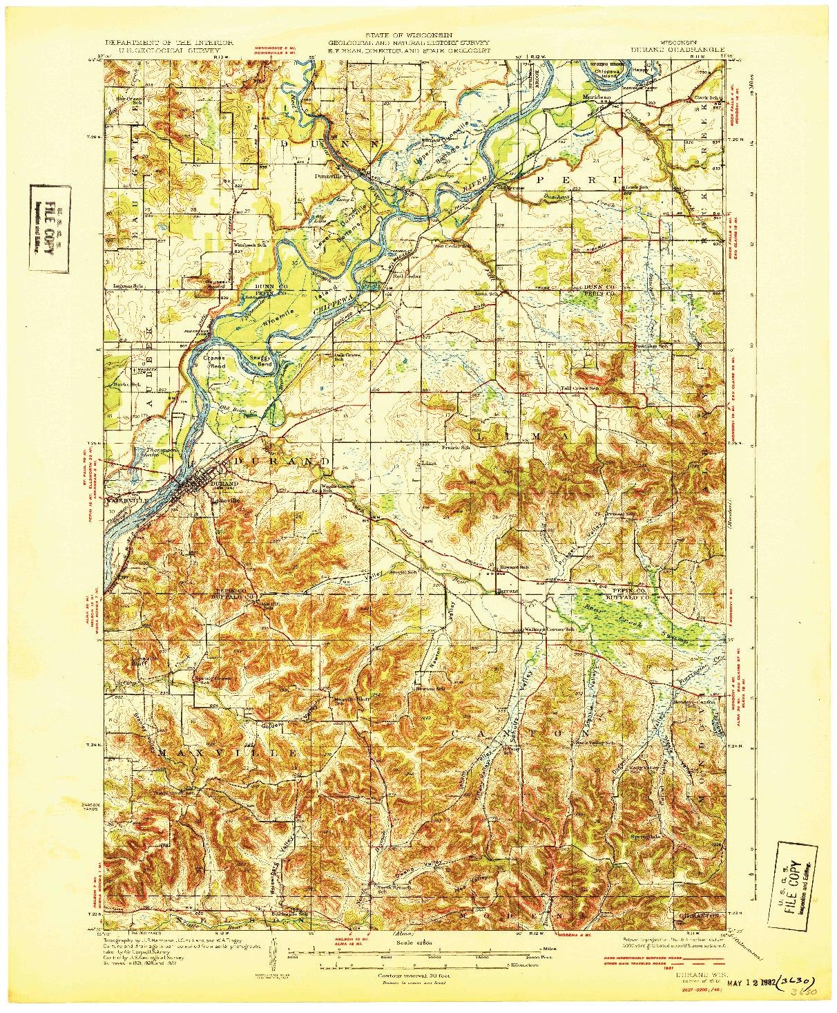 USGS 1:62500-SCALE QUADRANGLE FOR DURAND, WI 1932