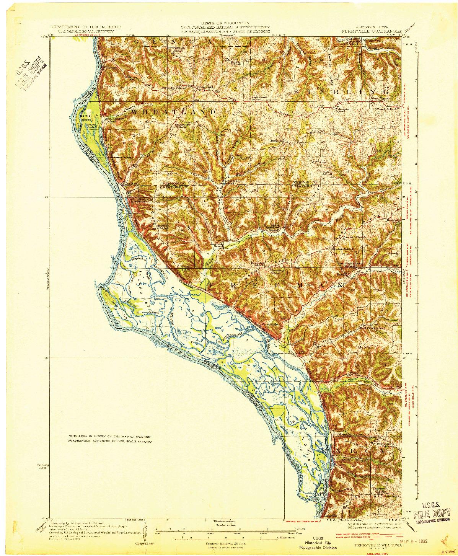 USGS 1:62500-SCALE QUADRANGLE FOR FERRYVILLE, WI 1932