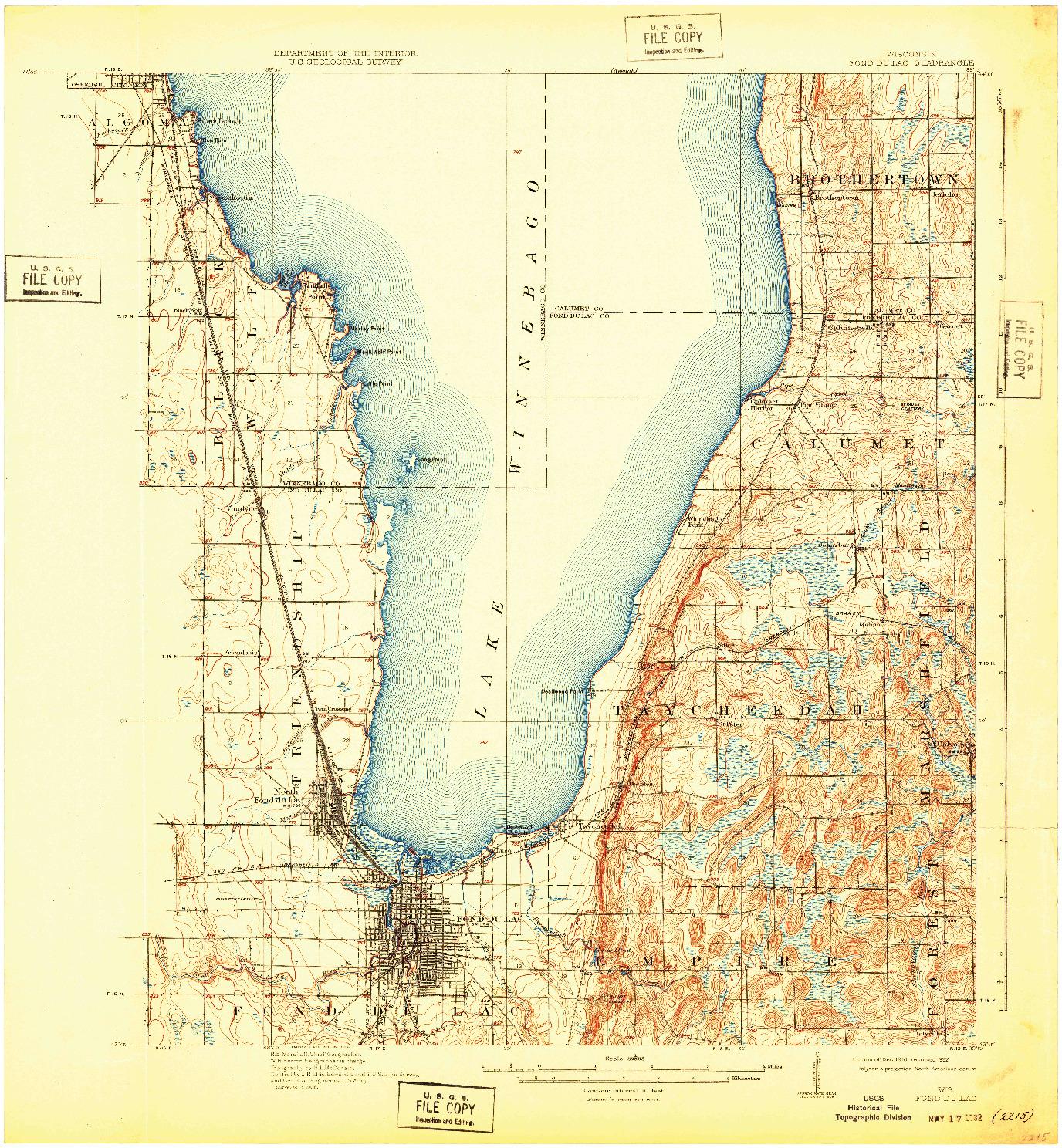 USGS 1:62500-SCALE QUADRANGLE FOR FOND DU LAC, WI 1910