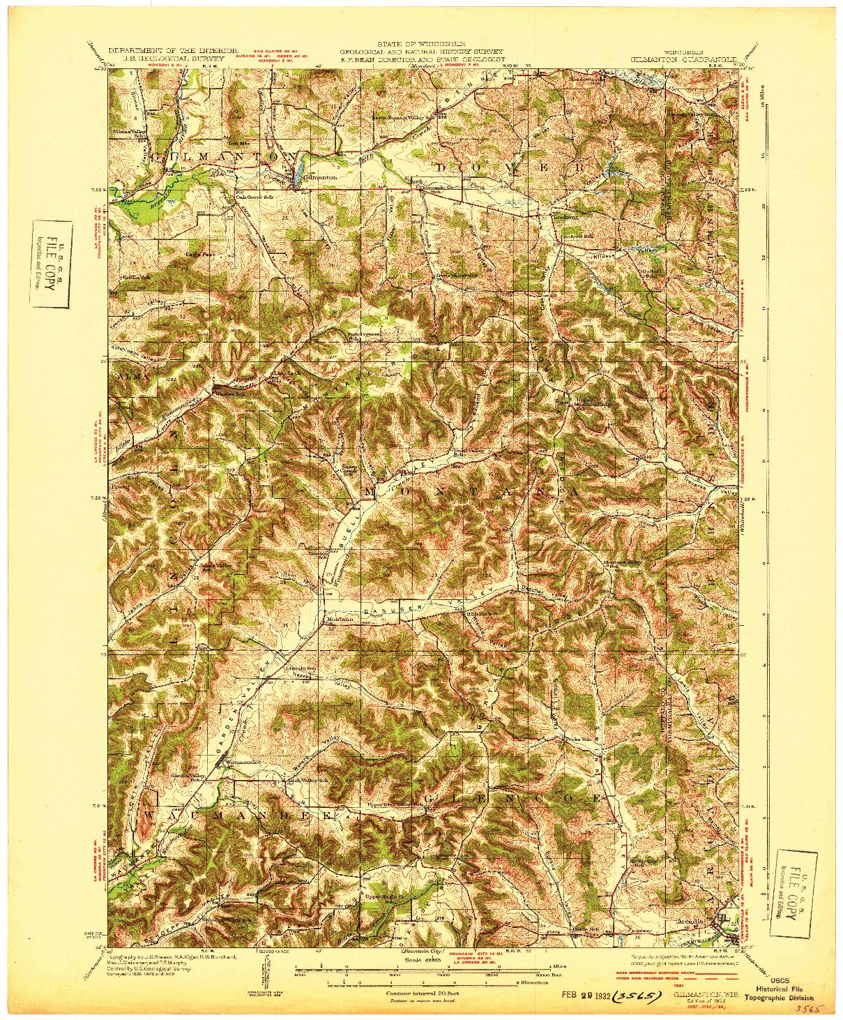 USGS 1:62500-SCALE QUADRANGLE FOR GILMANTON, WI 1932
