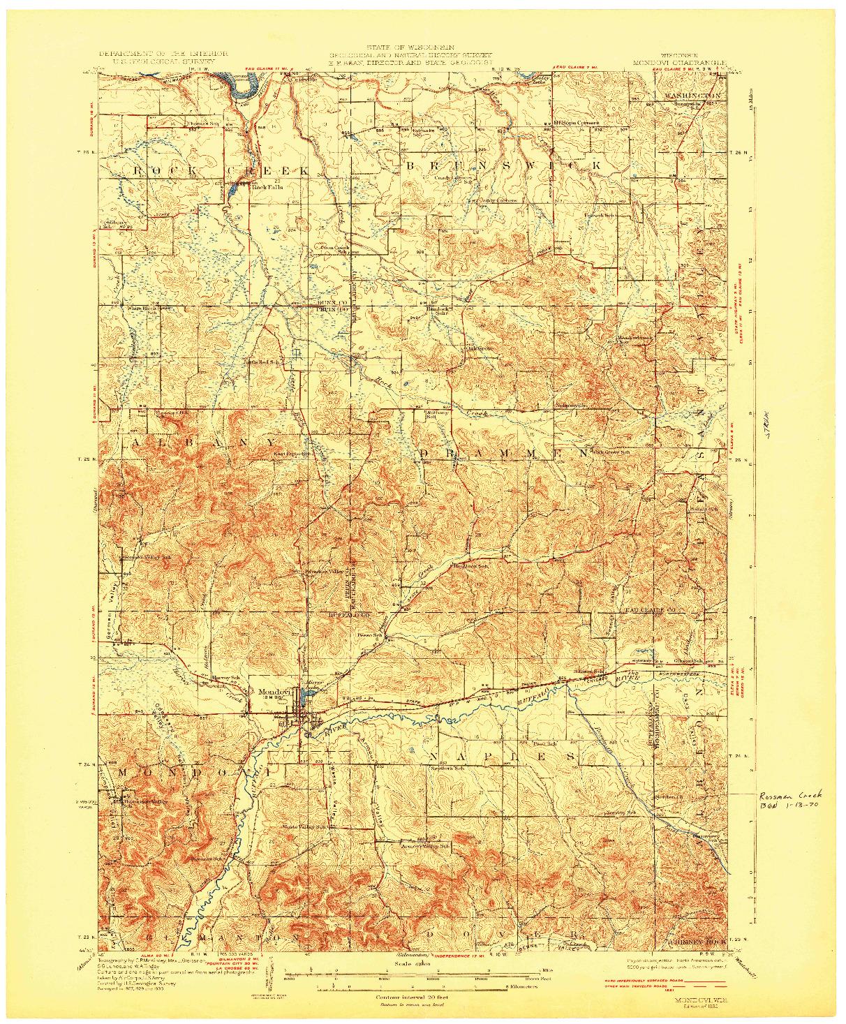 USGS 1:62500-SCALE QUADRANGLE FOR MONDOVI, WI 1932