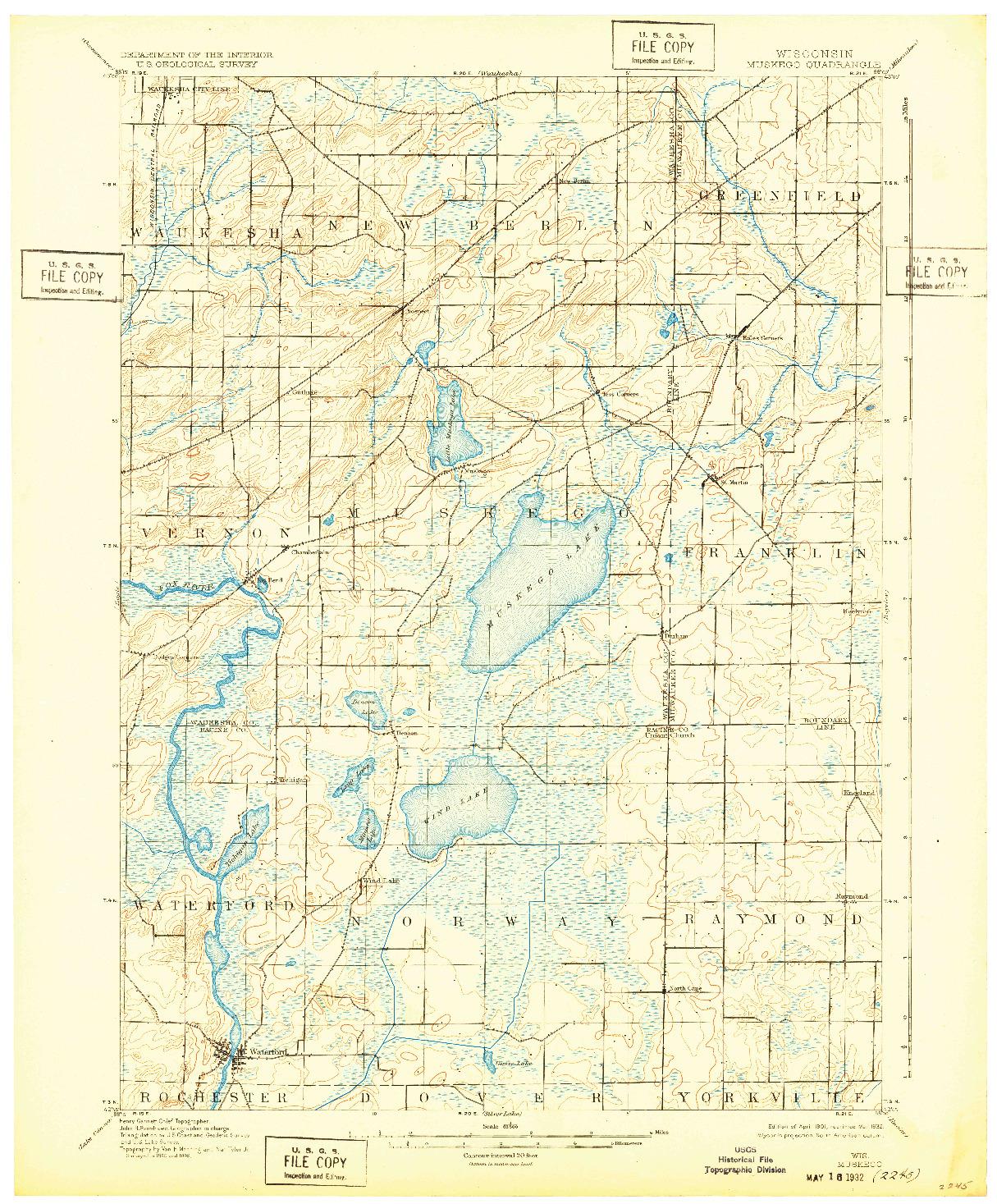 USGS 1:62500-SCALE QUADRANGLE FOR MUSKEGO, WI 1901