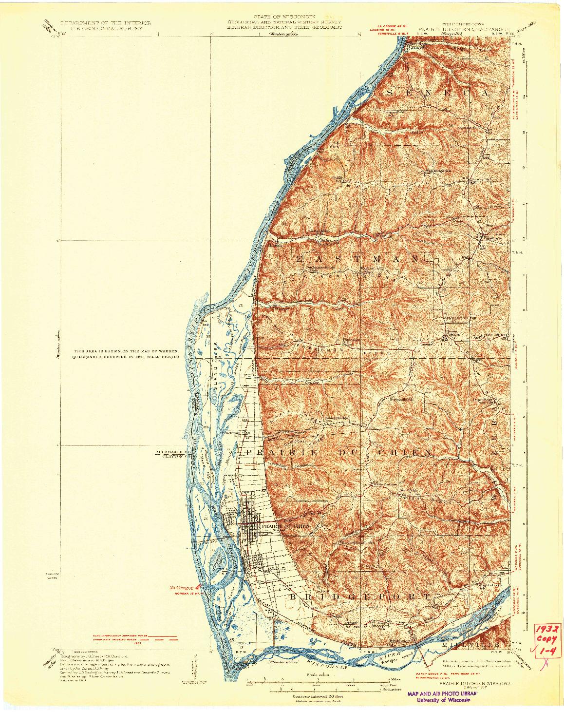 USGS 1:62500-SCALE QUADRANGLE FOR PRAIRIE DU CHIEN, WI 1932