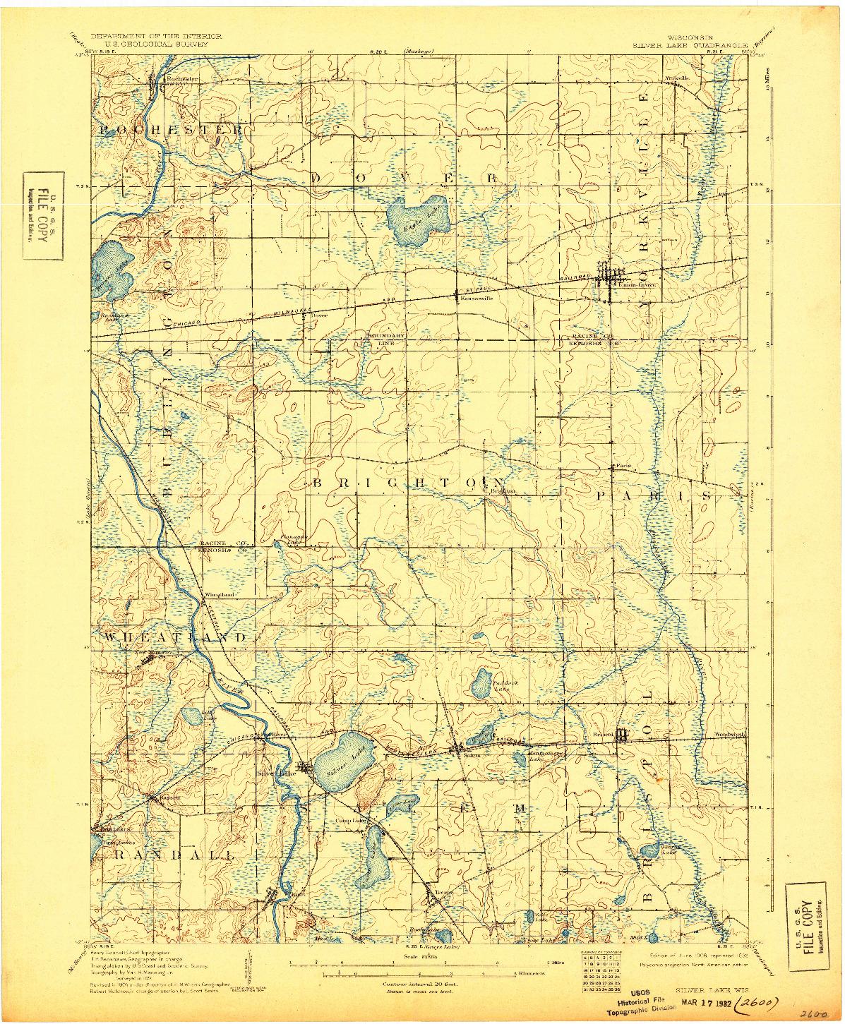 USGS 1:62500-SCALE QUADRANGLE FOR SILVER LAKE, WI 1906